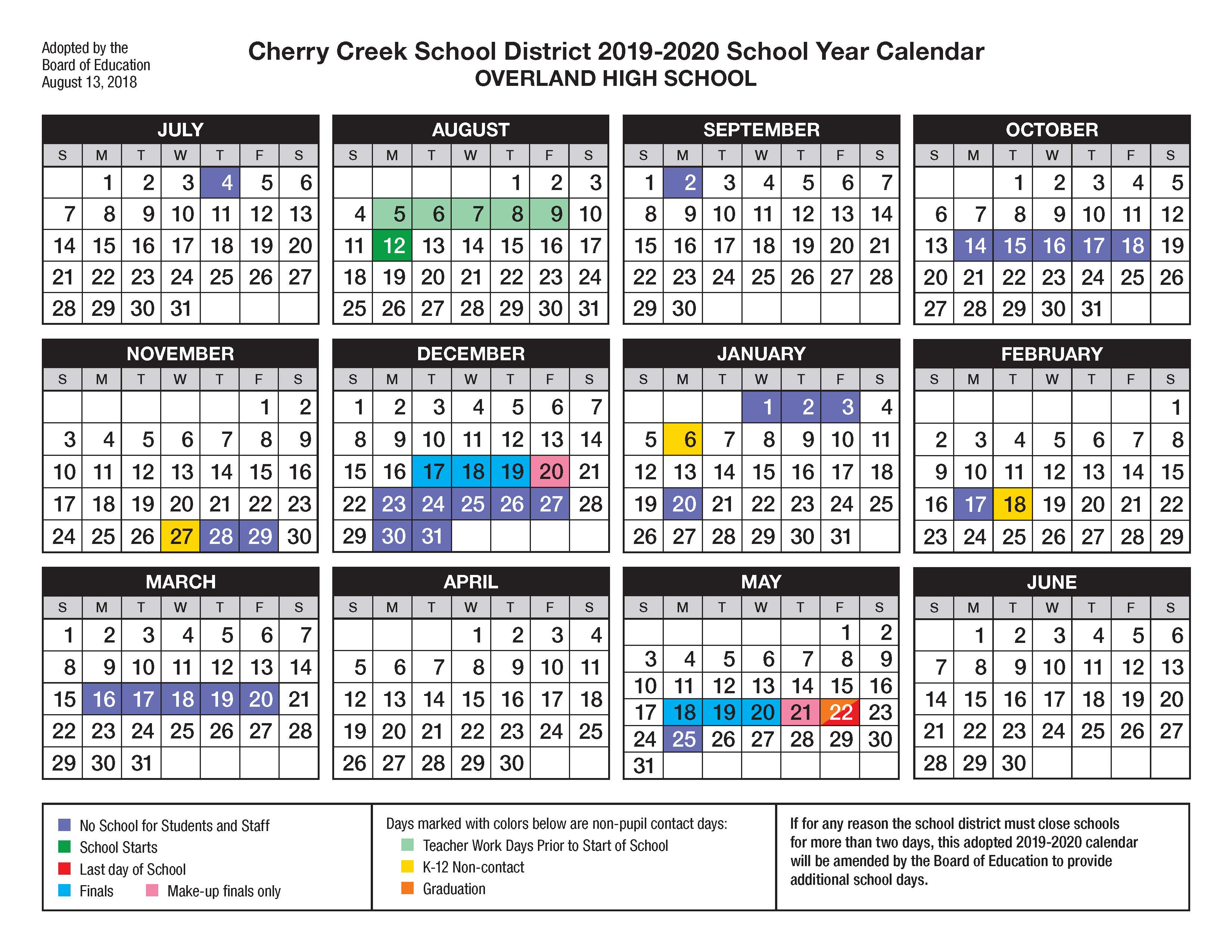 Overland High School / Calendar Within West Hills High School Calendar