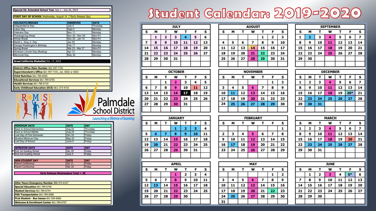 Palmdale School District / Psd Homepage In Hamilton County School Calendar 2021 20