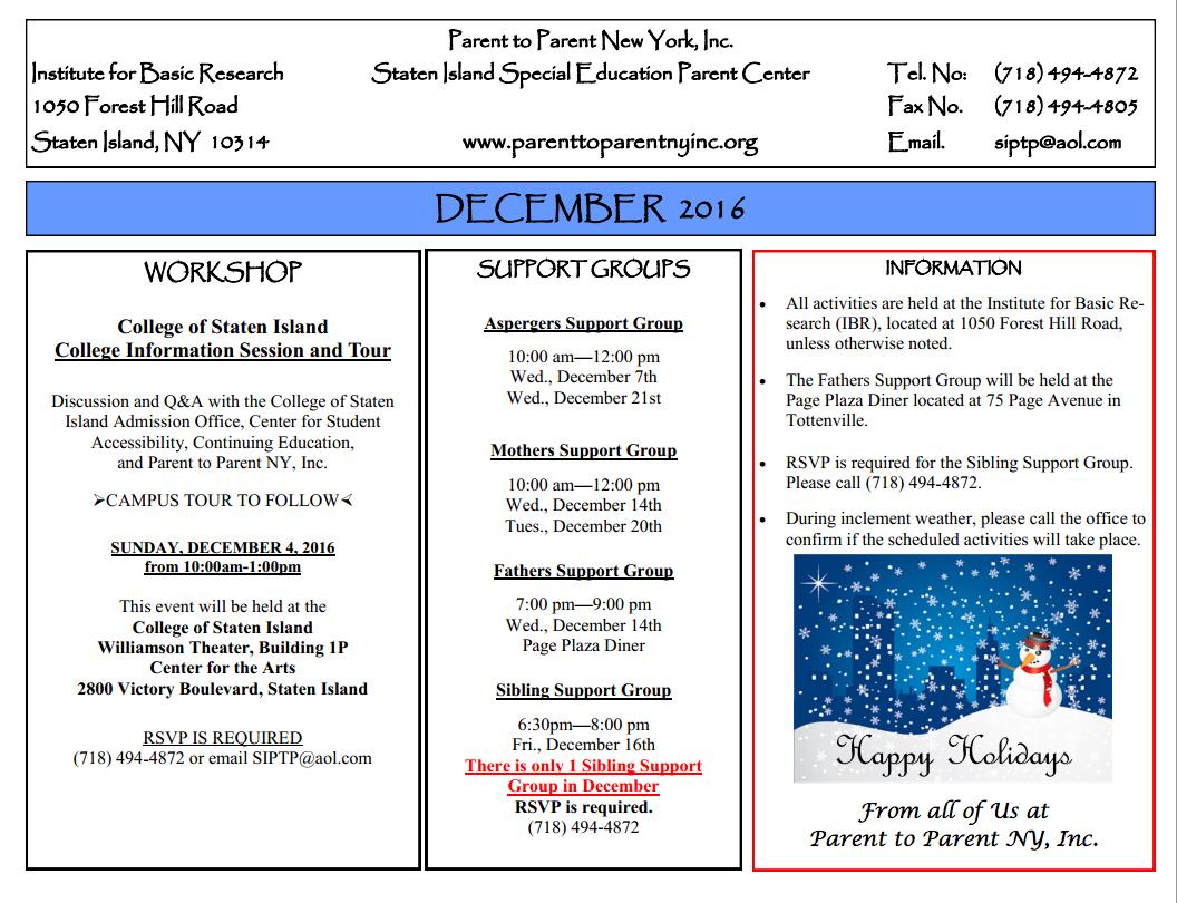 Parent To Parent New York, Inc. December 2016 Calendar | Ps Regarding Staten Island College Callendar
