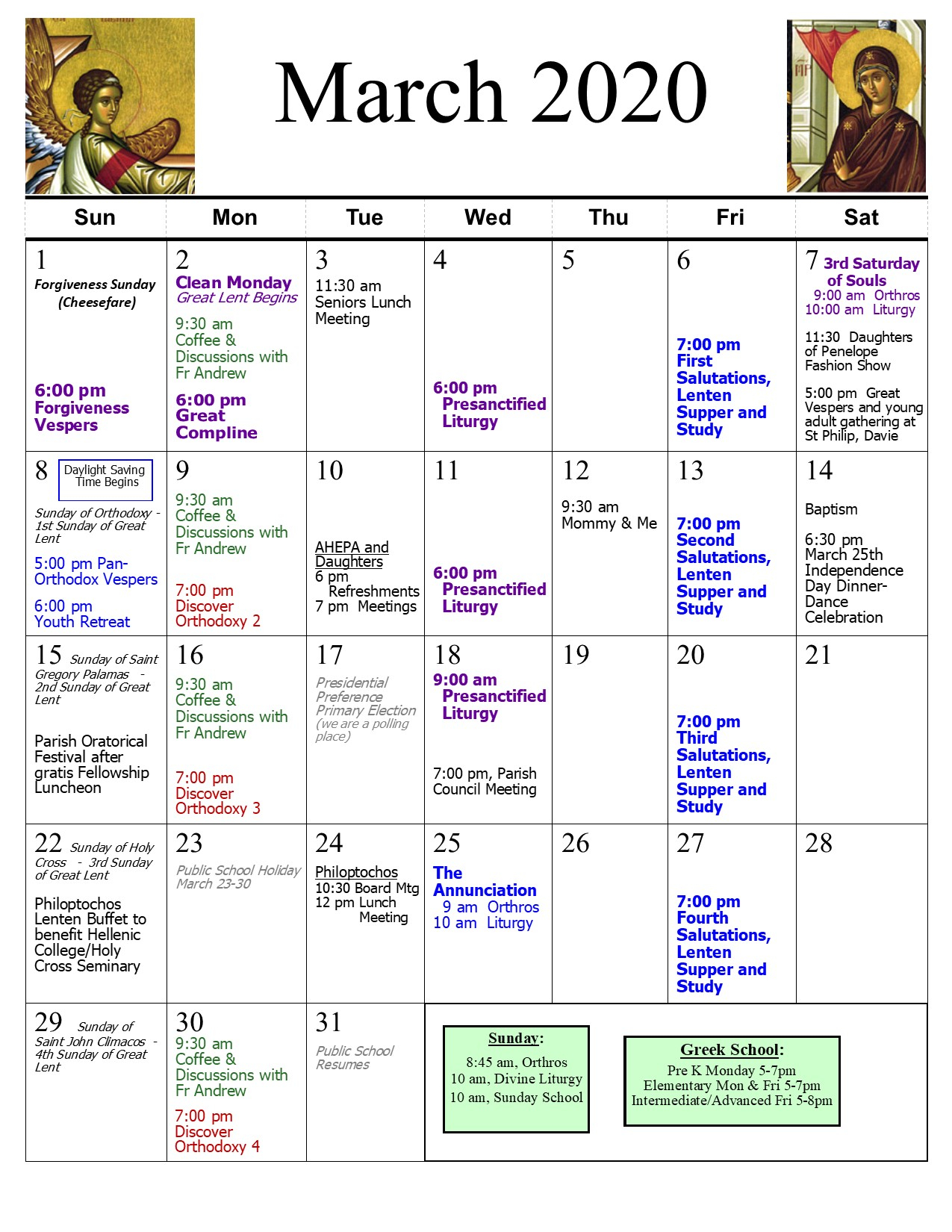 Parish Calendar | St. Catherine Greek Orthodox Church Pertaining To West Palm School Calendar
