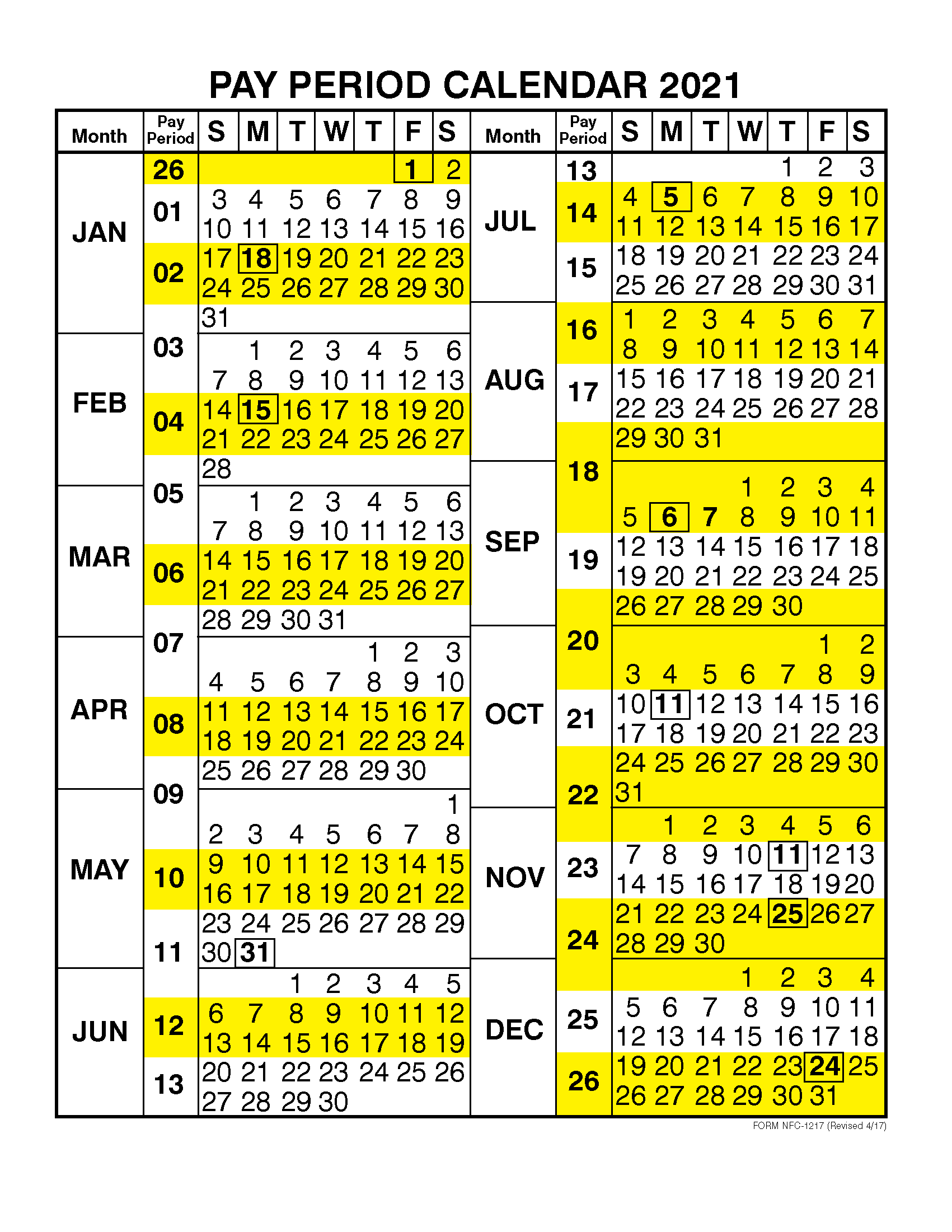 Pay Period Calendar 2021Calendar Year | Free Printable Regarding 2015 Pay Period Calendar Federal