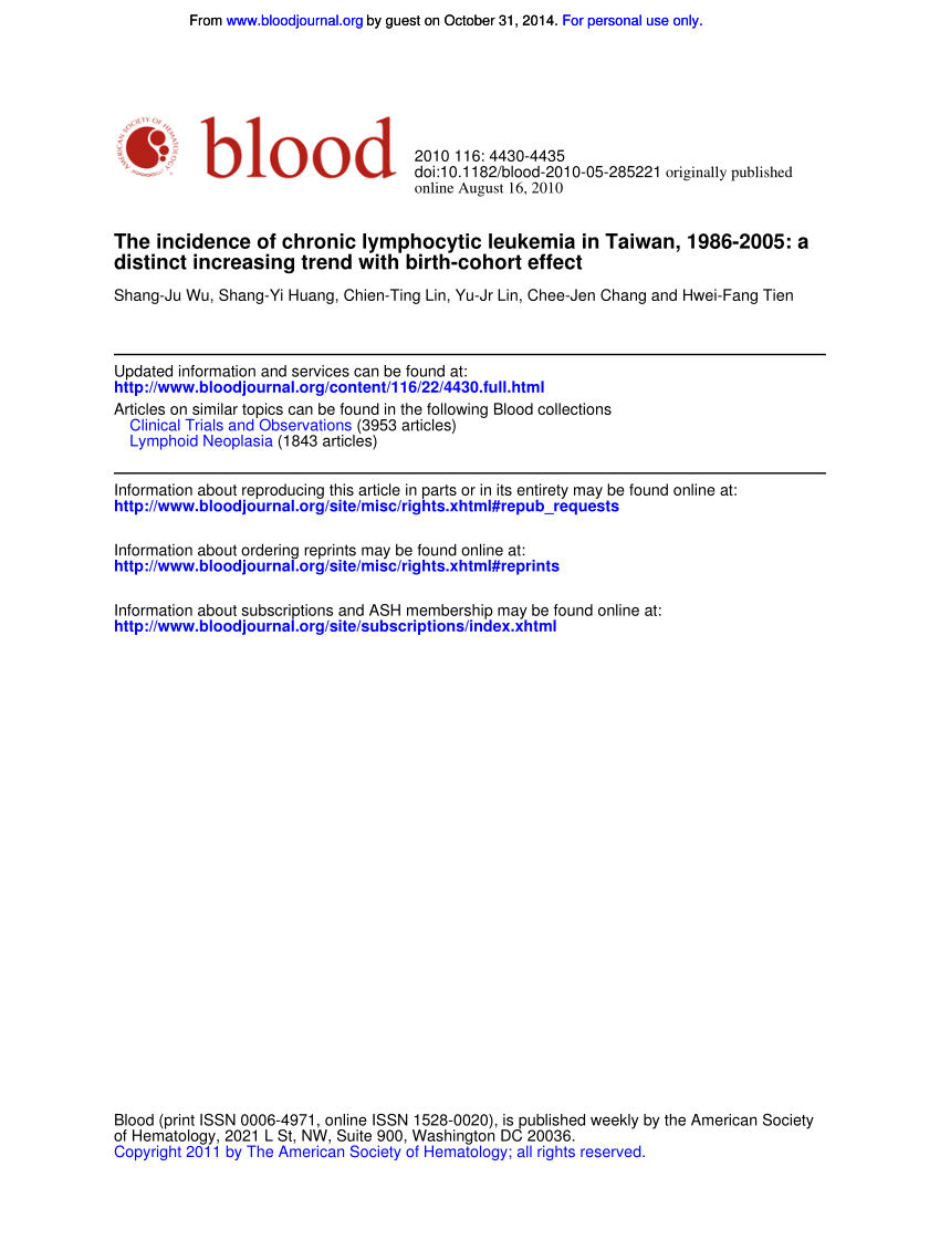 Pdf) The Incidence Of Chronic Lymphocytic Leukemia In Taiwan Throughout August 2021 Calendar Hsu