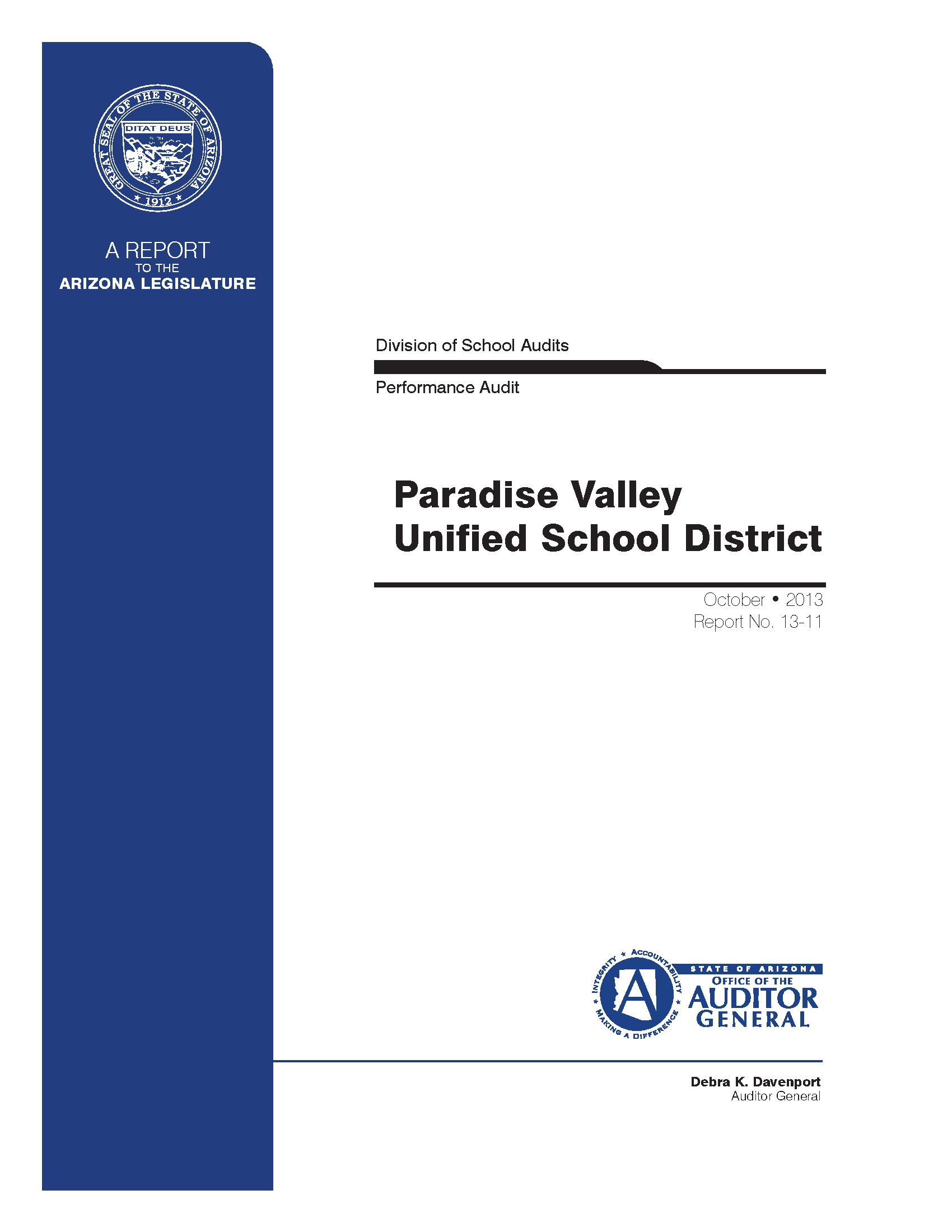 Performance Audit, Paradise Valley Unified School District With Paradise Valley Unified Calendar
