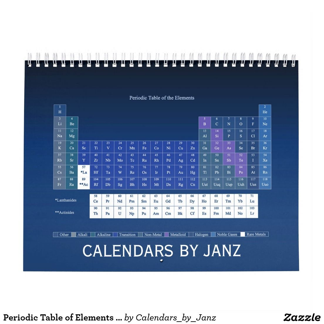 Periodic Table Of Elements Calendarjanz | Zazzle Within How Is The Periodic Table Like A Calender
