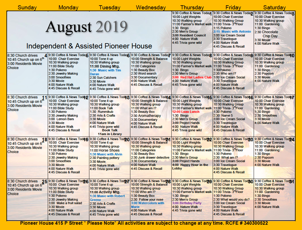Pioneer House Independent And Assisted Living Resident Intended For Assisted Living Activity Calendar