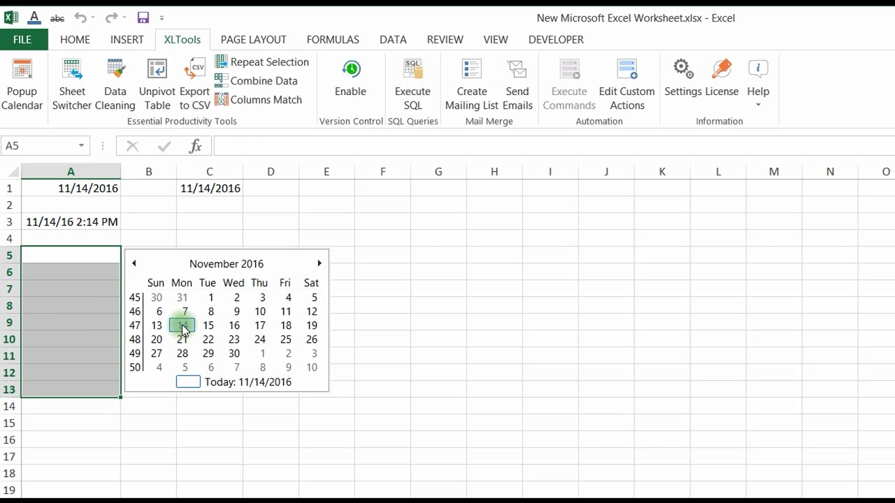 Popup Calendar For Excel | Xltools – Excel Add Ins You Need Regarding Convert Excel Data To Calendar