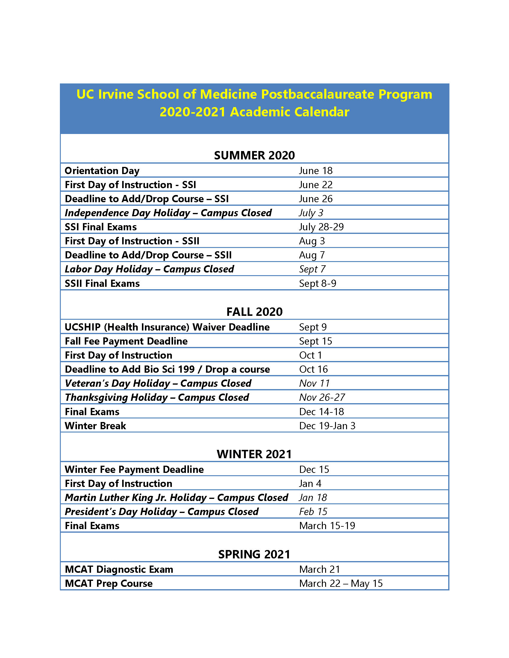 Postbaccalaureate Program | Medical Education | School Of Pertaining To Concordia University Irvine Holiday Schedule 2021