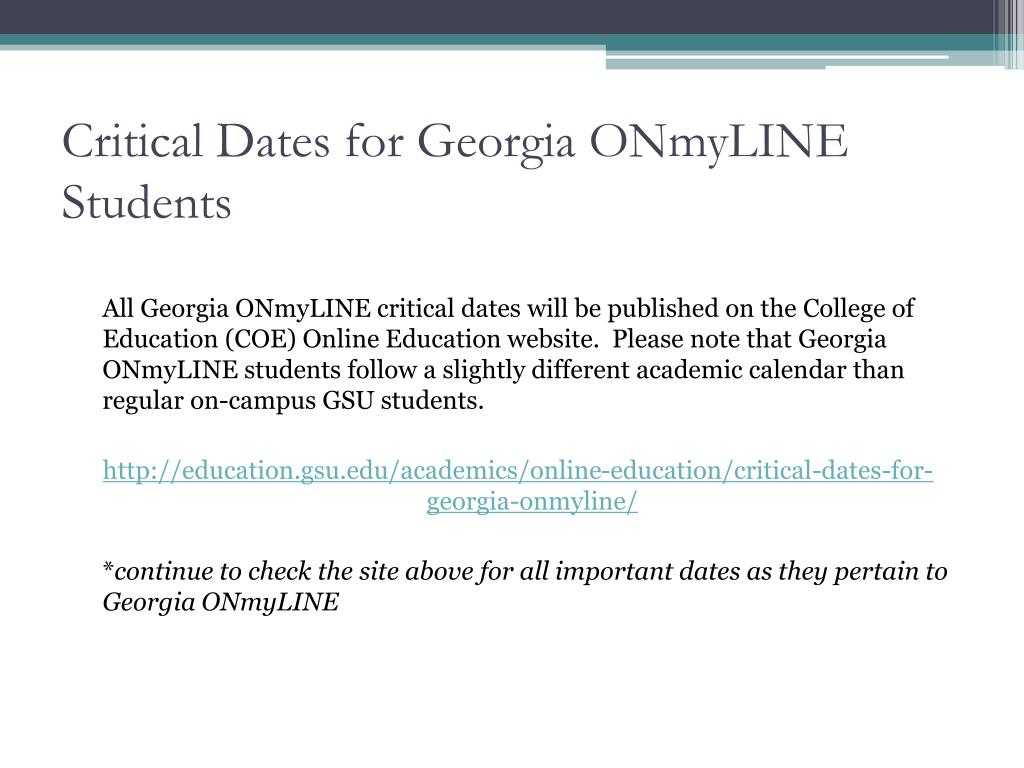 Ppt – Georgia Onmyline Orientation & Advising Powerpoint Within Gsu Edu Academic Calendar
