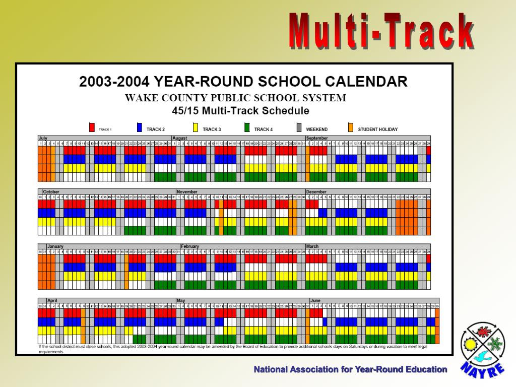 Ppt – National Association For Year Round Education Regarding Track 4 Wake Couty Calander 2010