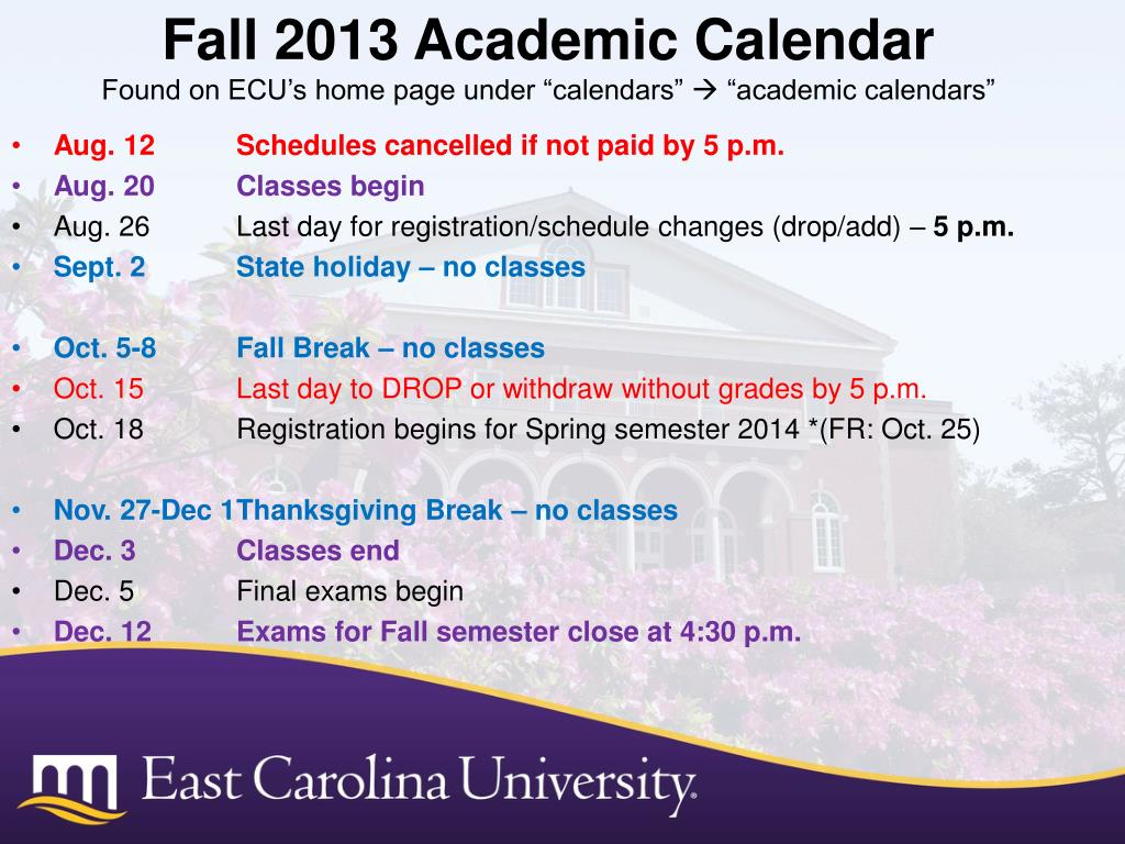 Ppt – Thomas Harriot College Of Arts & Sciences Powerpoint Throughout East Carolina University Holiday Calendar