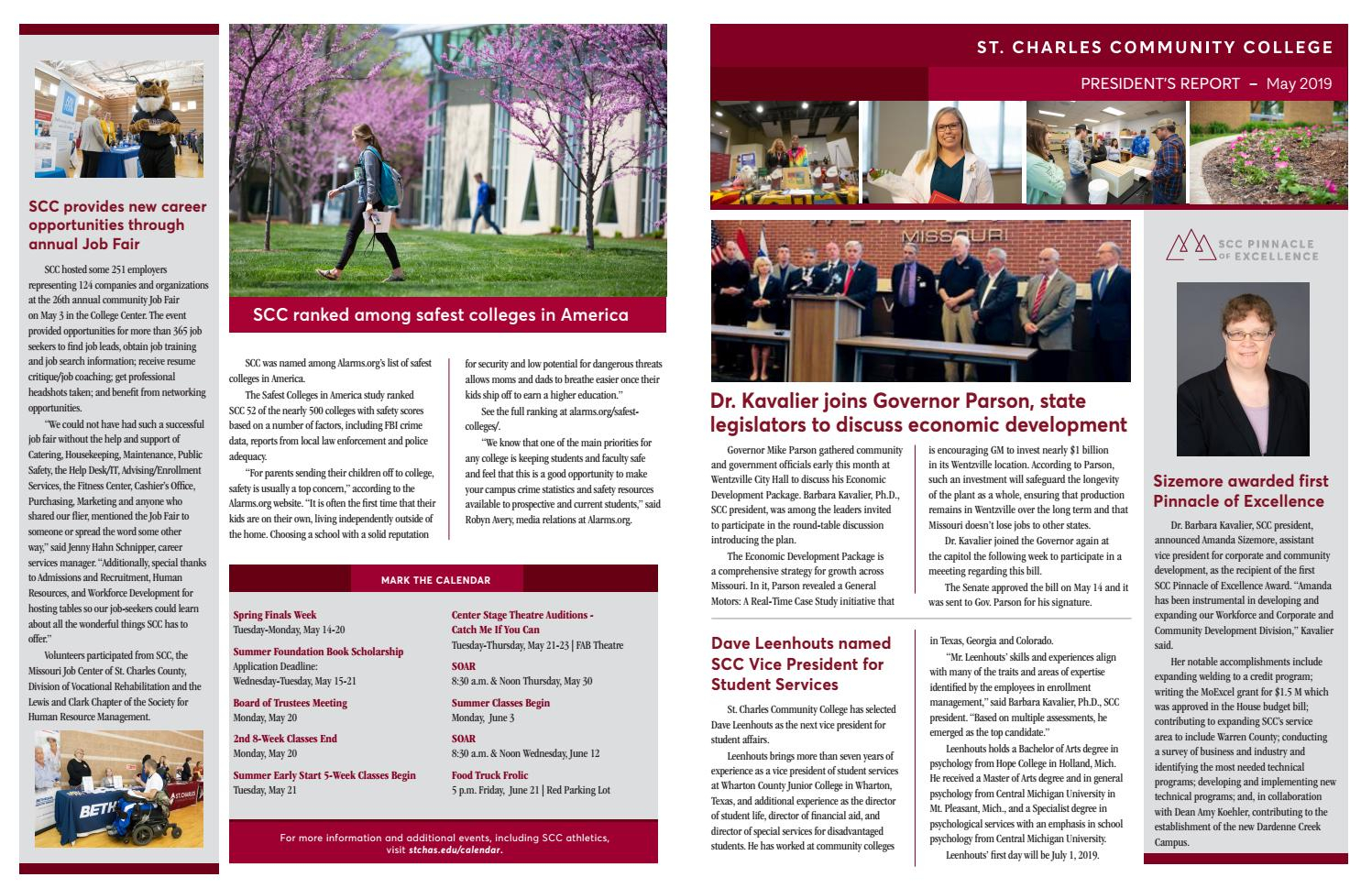 President's Report To The Board – May 2019St. Charles Pertaining To St Charles Commnity College Calendar'