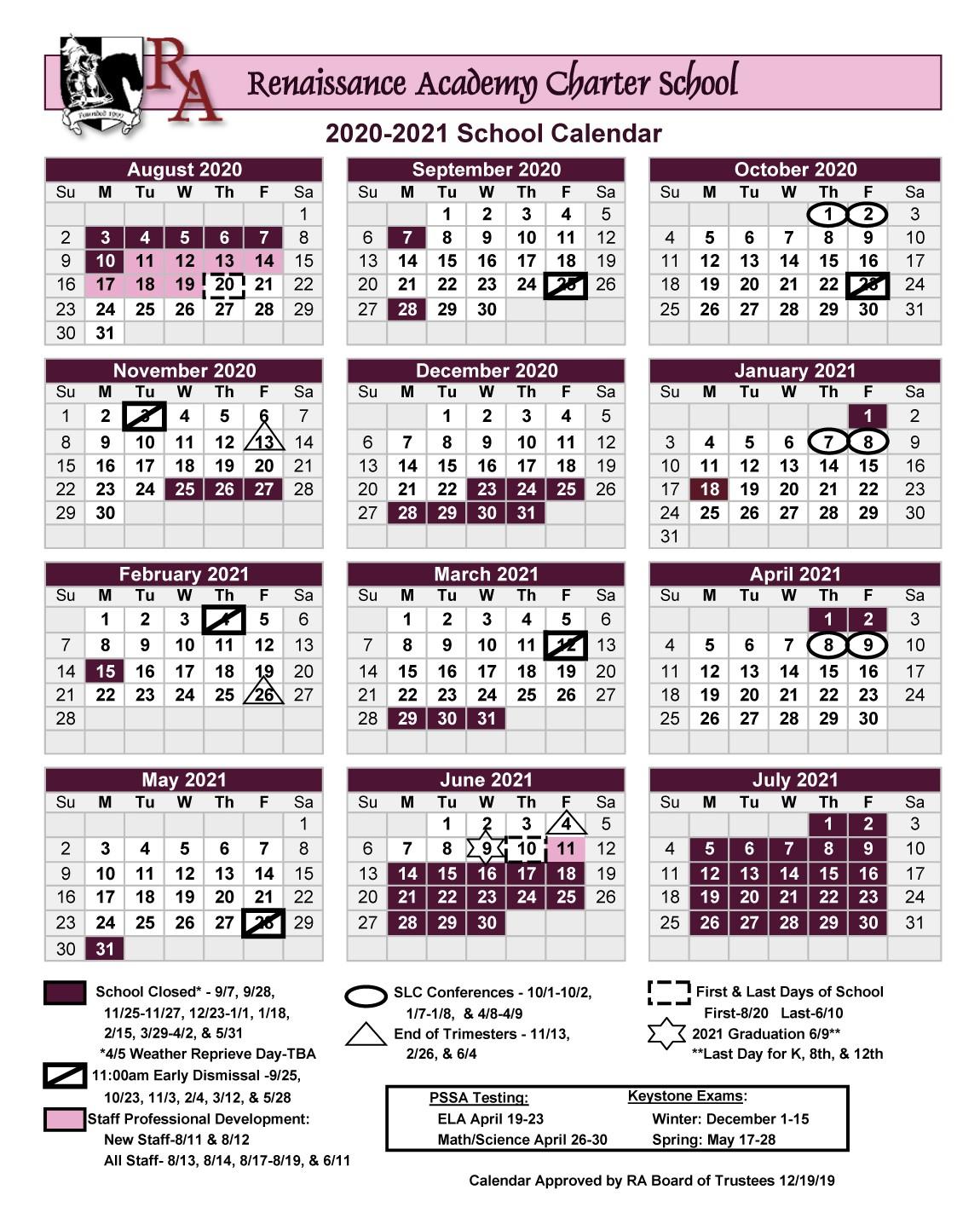Printable 2020 2021 School Year Calendar - Renaissance With Regard To Bethlehem Area School District Calendar 2021