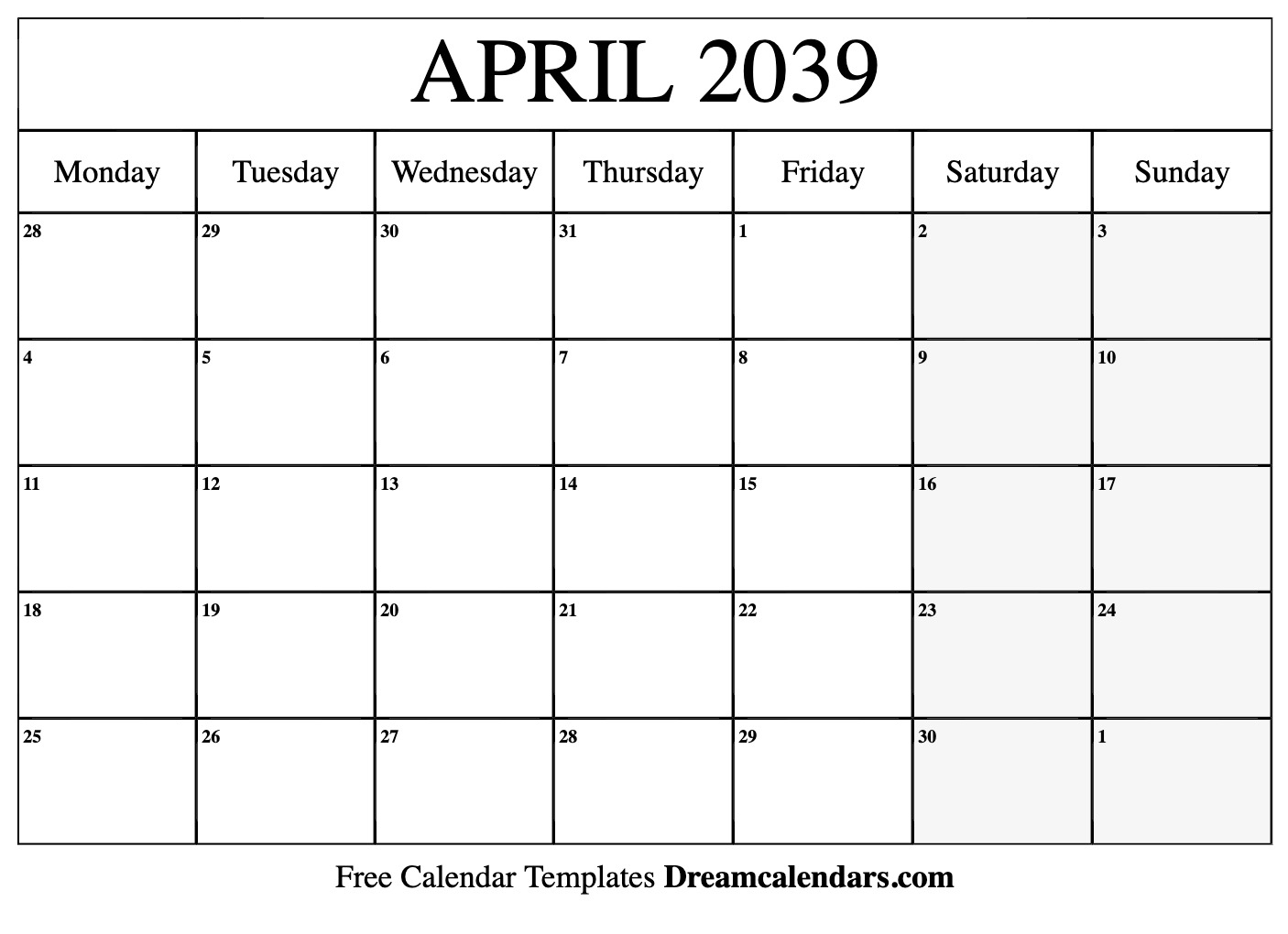 Printable April 2039 Calendar regarding Calendar Sunset Sunrise Length Printable