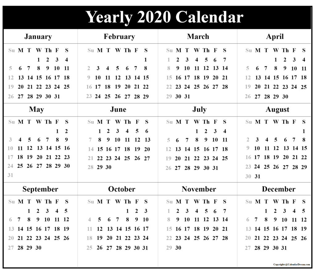 Printable Blank Yearly 2020 Calendar Template [Pdf Inside Free June 2020 Activities Calendar Template Assisted Living Editable