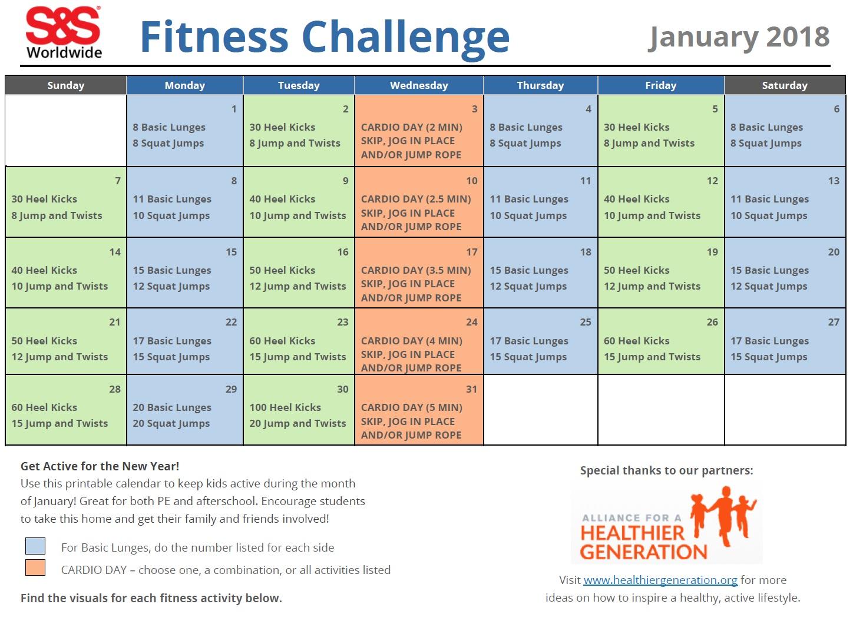 Printable Fitness Challenge Calendar For Kids - Keeping For January Fitness Printable Challenge