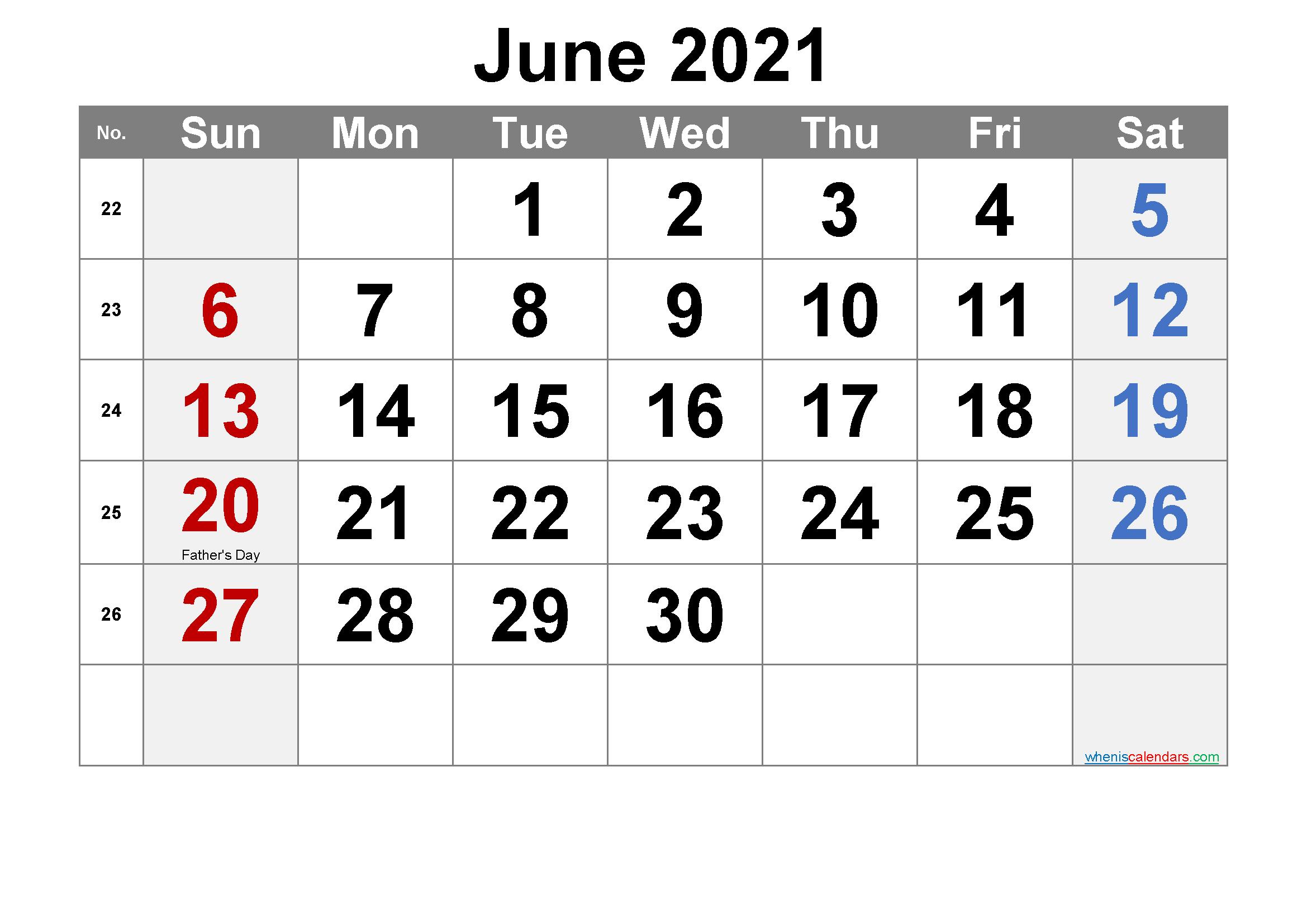 Printable June 2021 Calendar Word Template No.ar21M18 – Free Inside Word Of The Day Calendar 2021