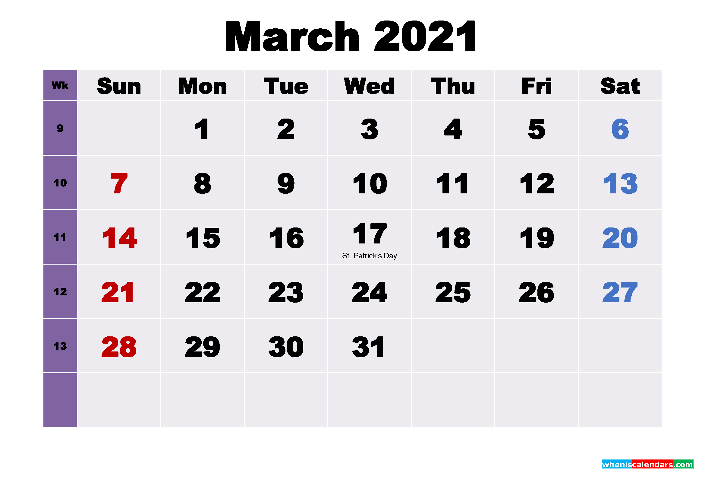 Printable March 2021 Calendar With Holidays Word, Pdf   Free For Word Of The Day Calendar 2021