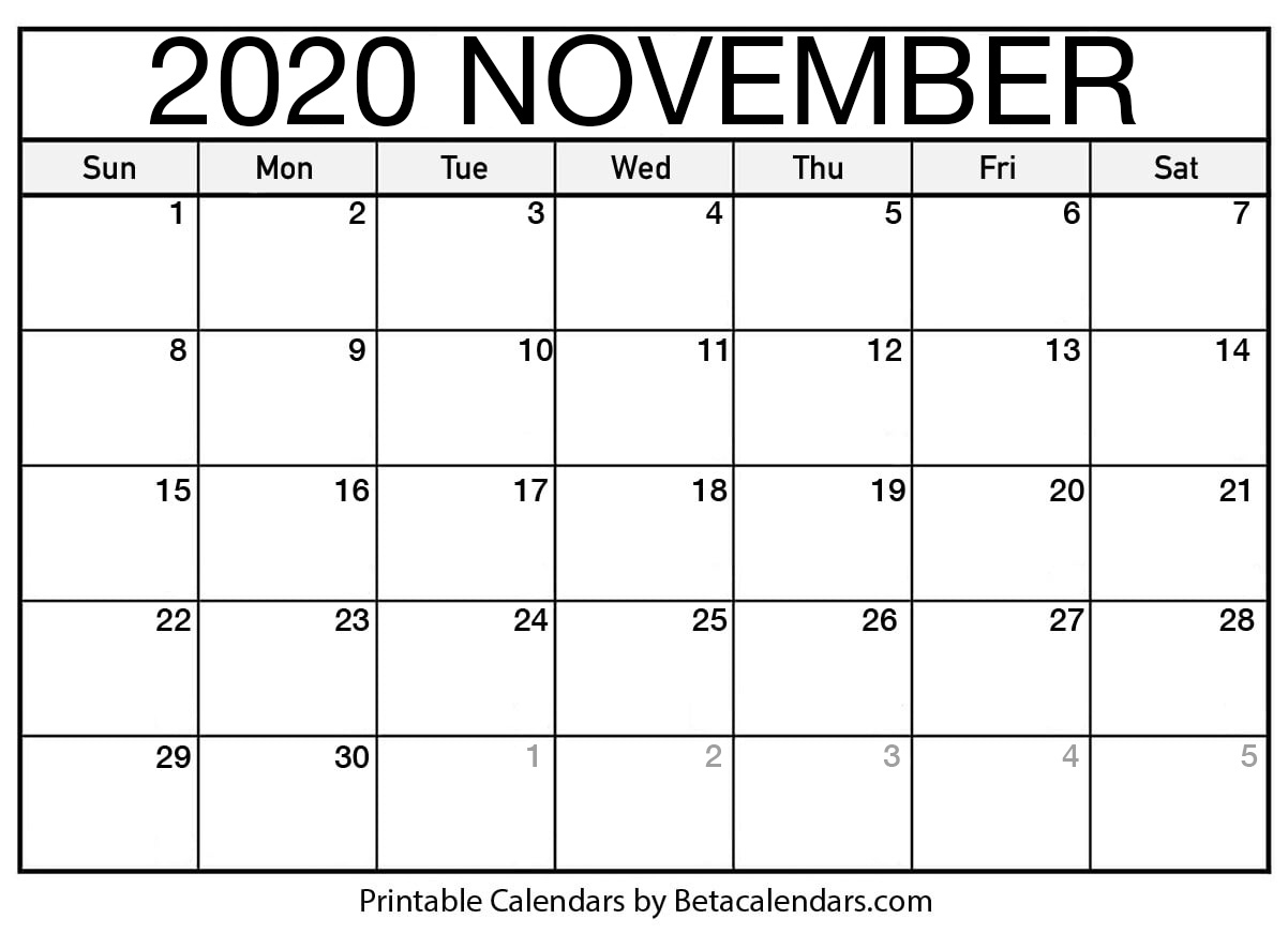 Printable November 2020 Calendar – Beta Calendars In Beaver Country Day Calendar