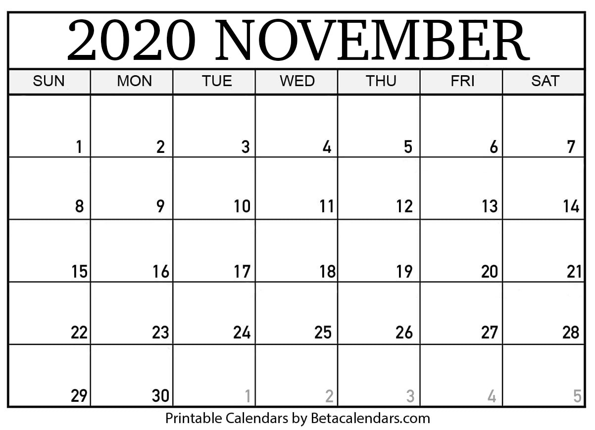 Printable November 2020 Calendar - Beta Calendars Regarding Beaver Country Day Calendar