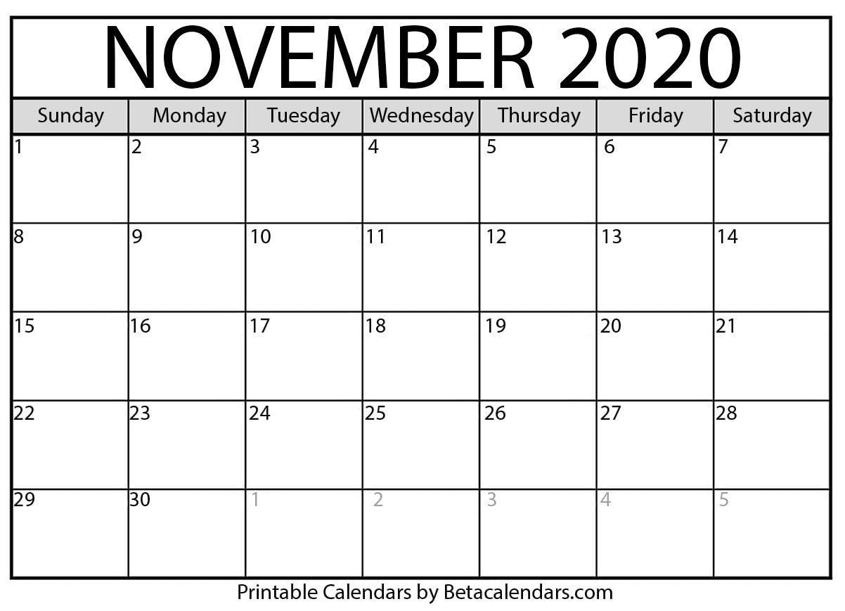 Printable November 2020 Calendar - Beta Calendars With Regard To Beaver Country Day Calendar