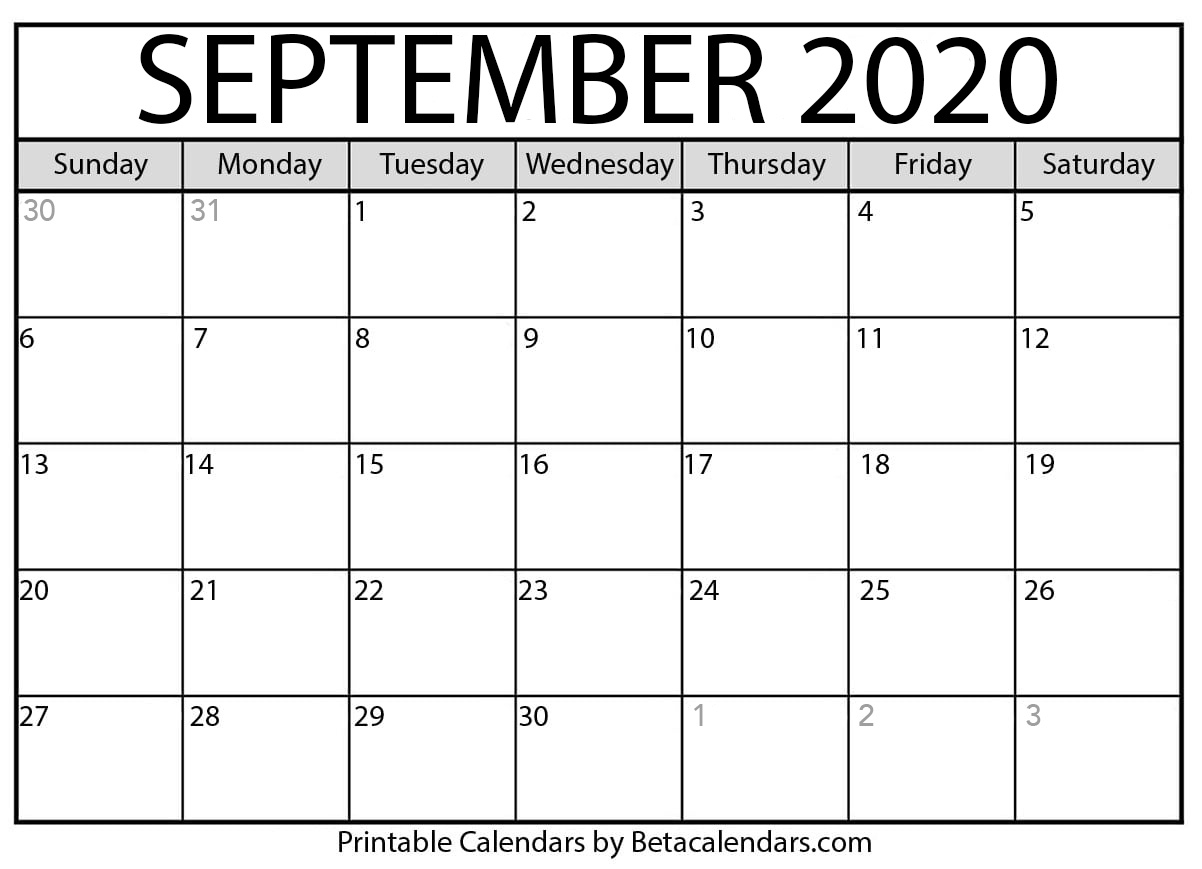 Printable September 2020 Calendar – Beta Calendars Within Canton Trade Days Calendar 2021