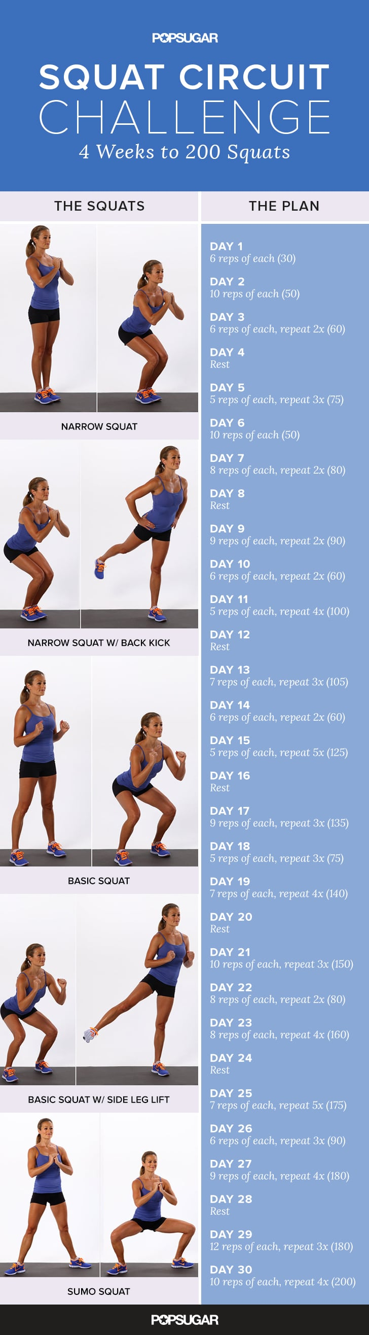 Printable Squat Challenge | Popsugar Fitness In 30 Day Butt Gut And Leg Challenge Printable
