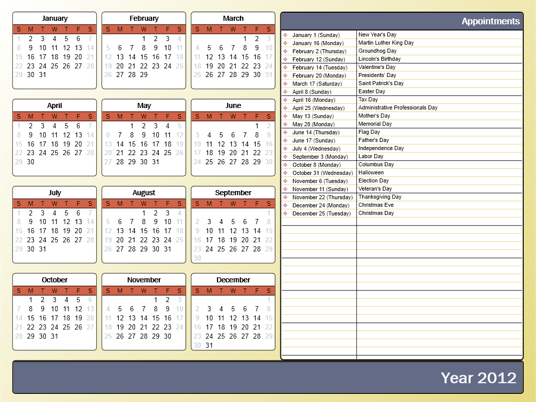 Printing A Yearly Calendar With Holidays And Birthdays with How To Print A Holiday Calendar From Outlook