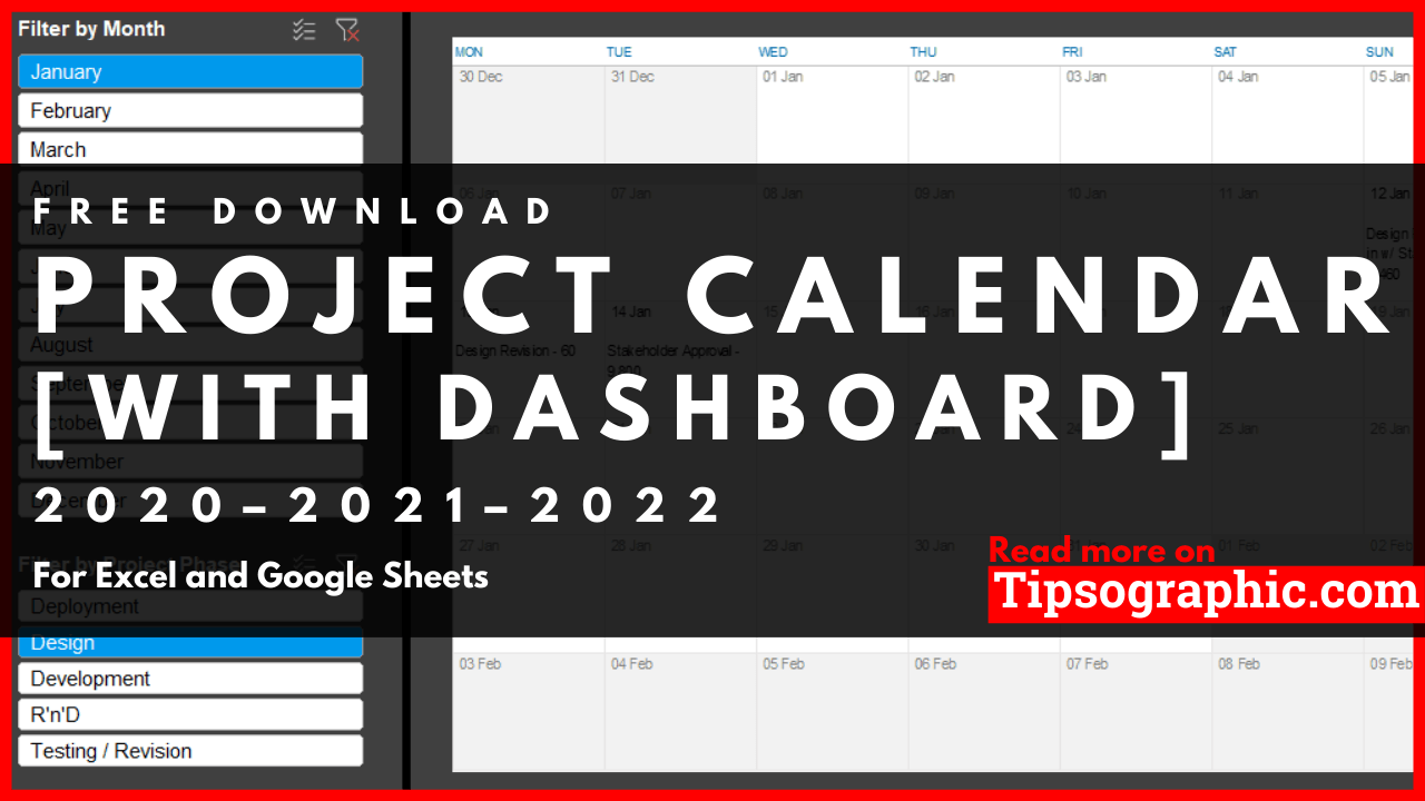 Project Calendar Template For Excel With Dashboard, Free In Outlook 2021 Google Calendar Edit