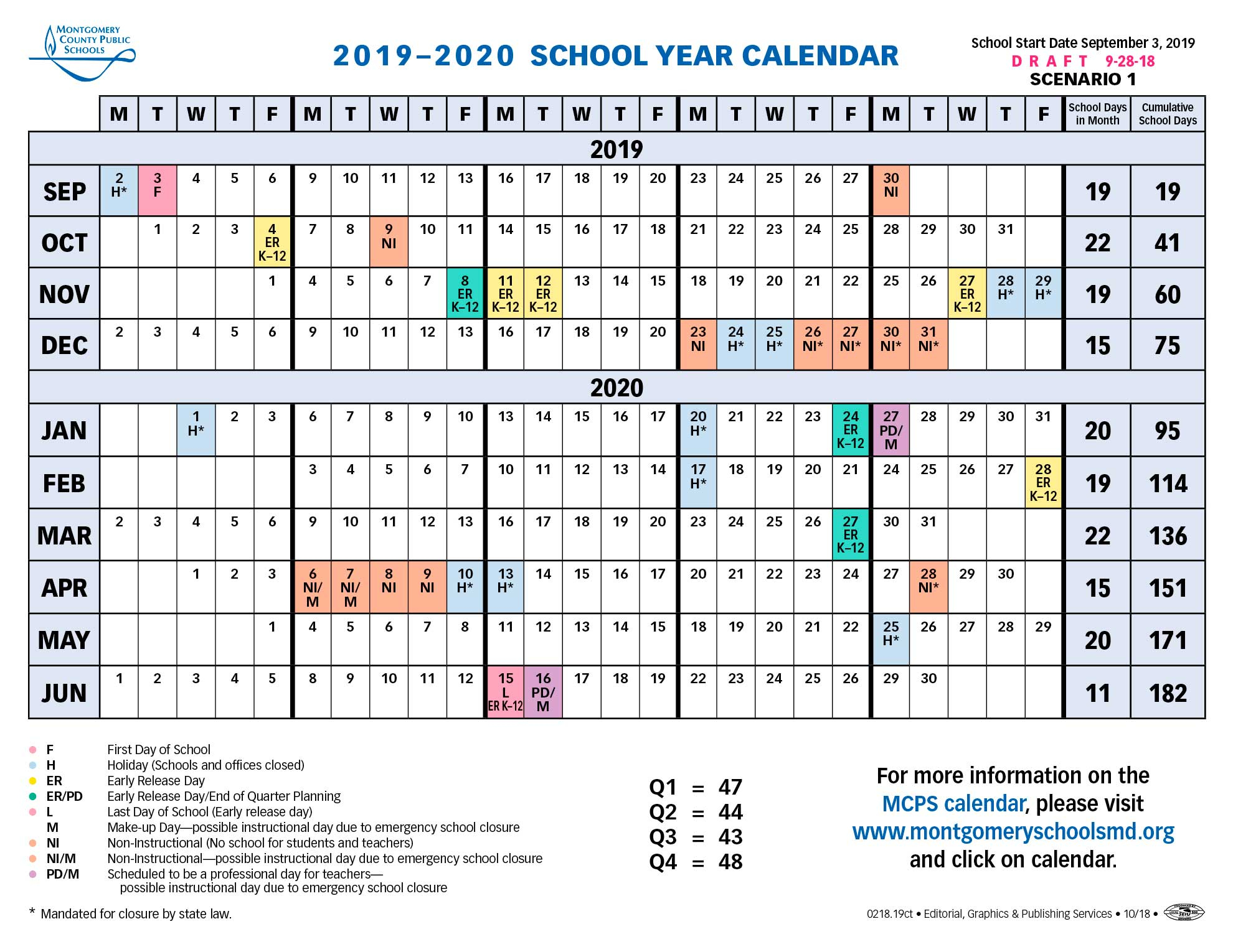 Proposed Calendar 2019 2020 – Montgomery County Public With Spring Valley Ny Hs Calendar
