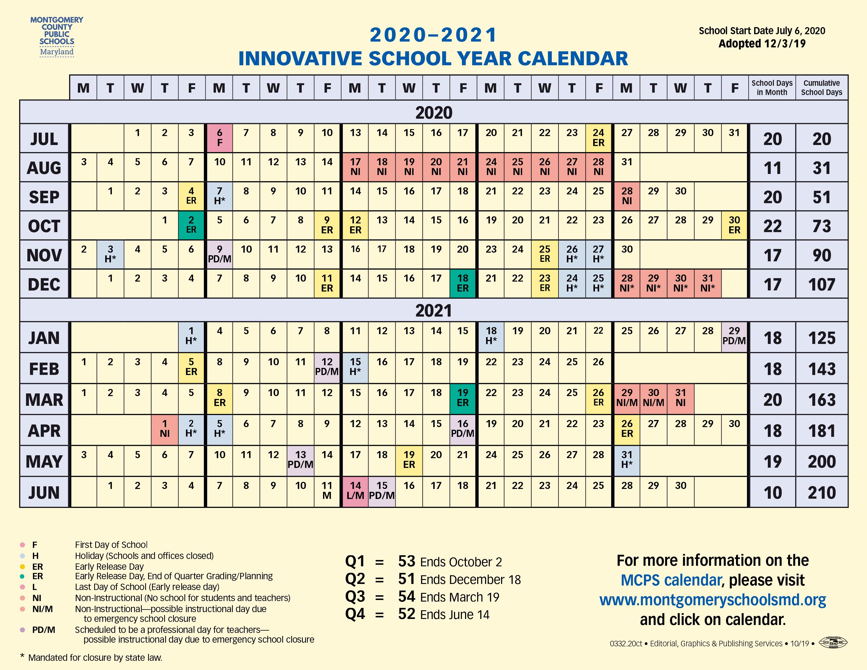 Proposed Calendar 2020 2021 – Montgomery County Public Within Alachua School Board Calendar