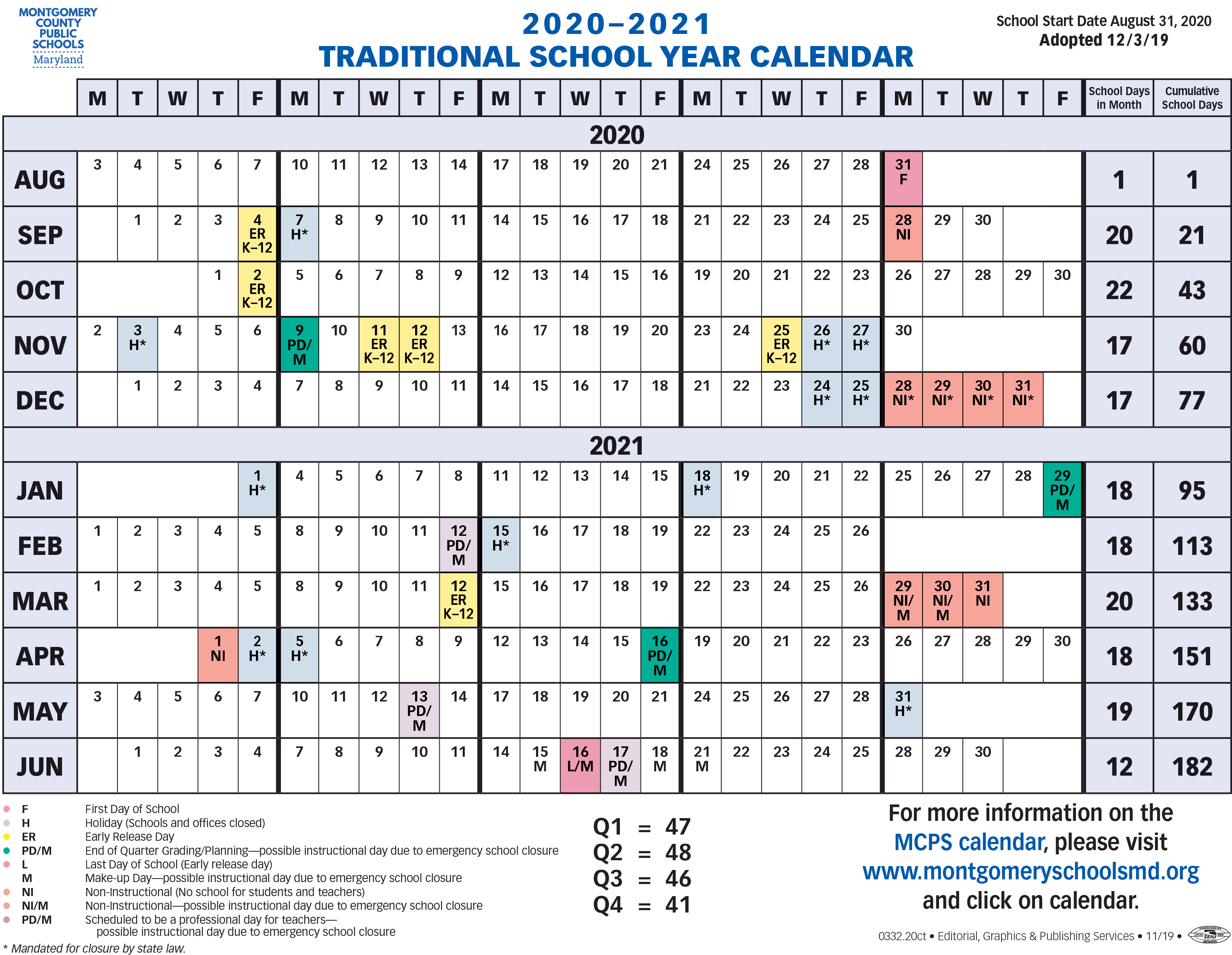 Proposed Calendar 2020 2021 - Montgomery County Public Within Alachua School Board Calendar