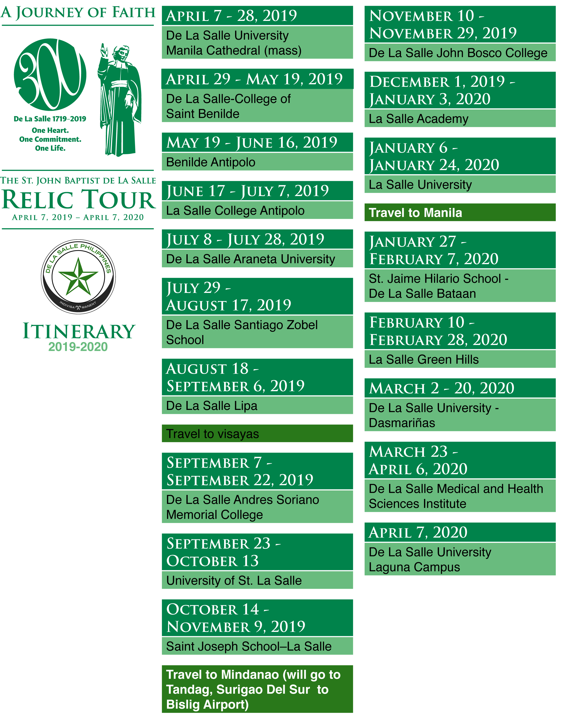 Proposed Itinerary Of The Relic 2019 2020  Pdf V1 - De La Intended For La Salle University Academic Calendar