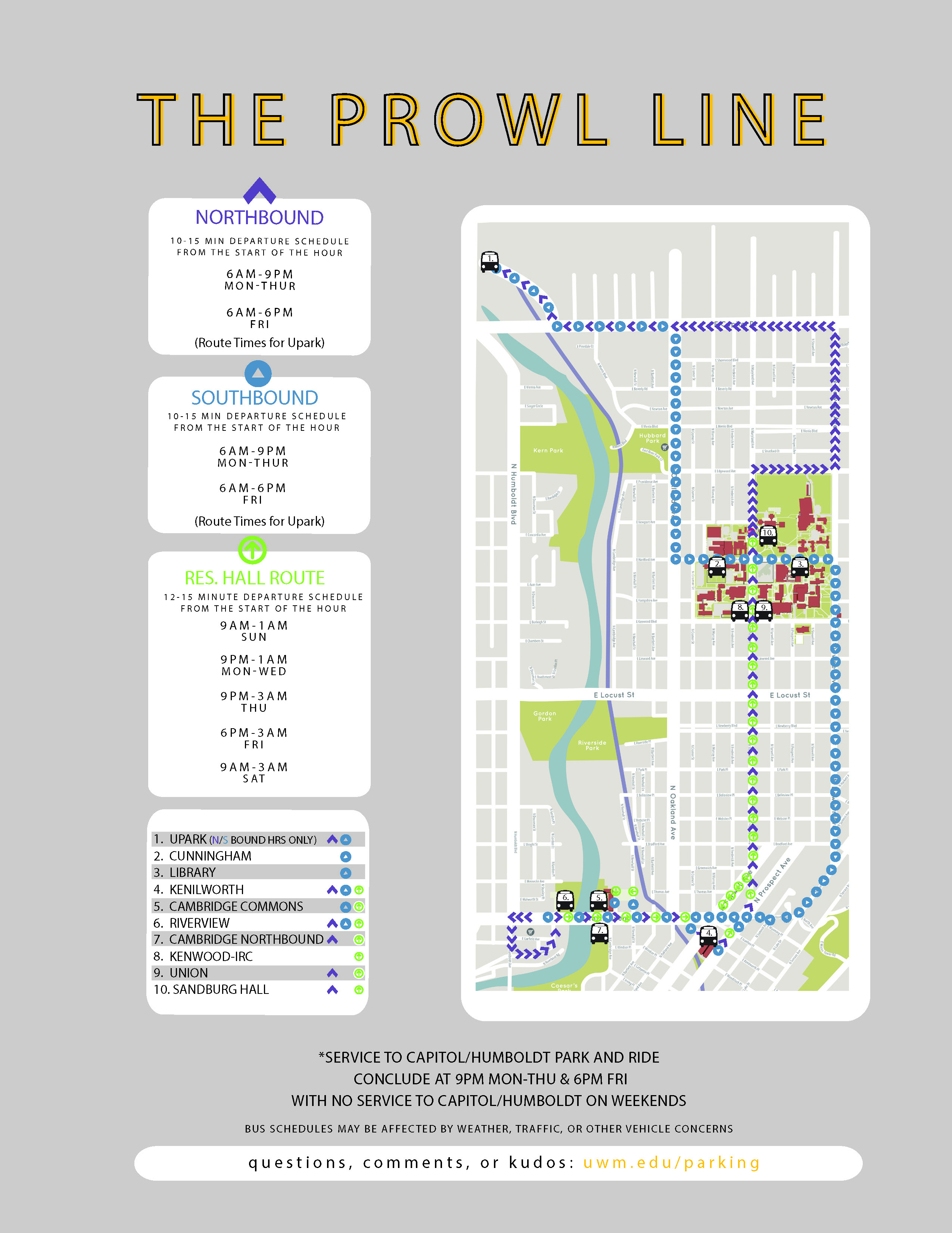 Prowl Line – Upark Park And Ride (Commuters) | Uwm For University Of Wisconsin Milwaukee Calendar