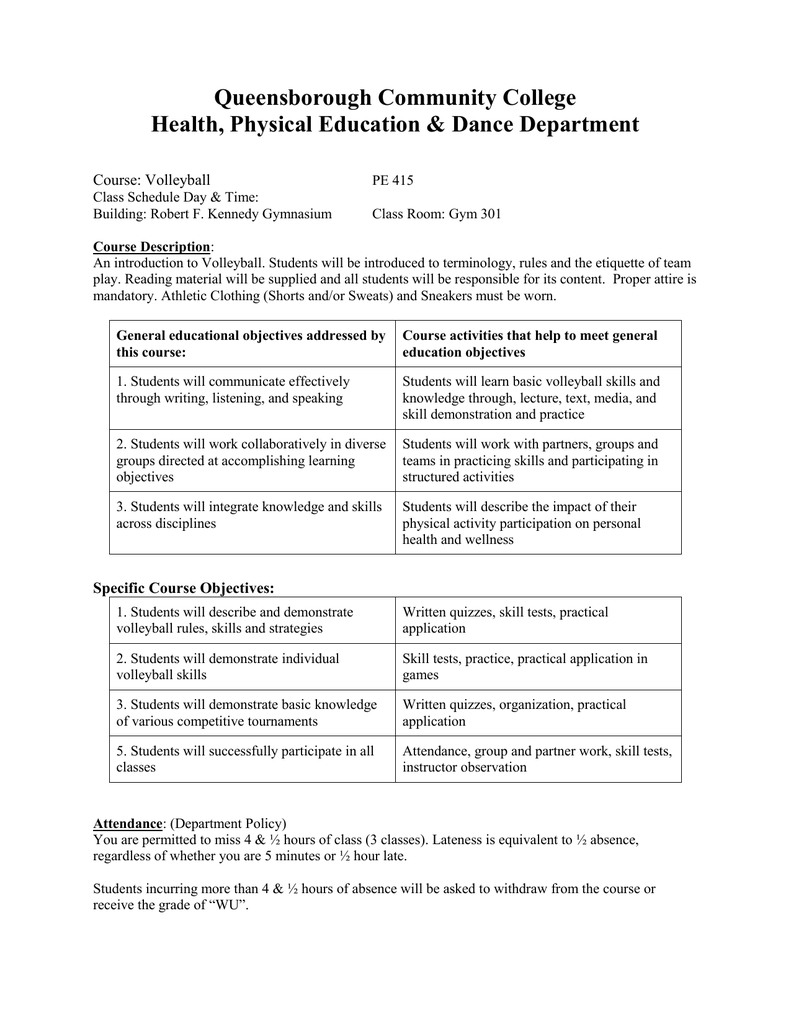 Queensborough Community College Health, Physical Education Throughout Queenbouorgh Community College Schdule