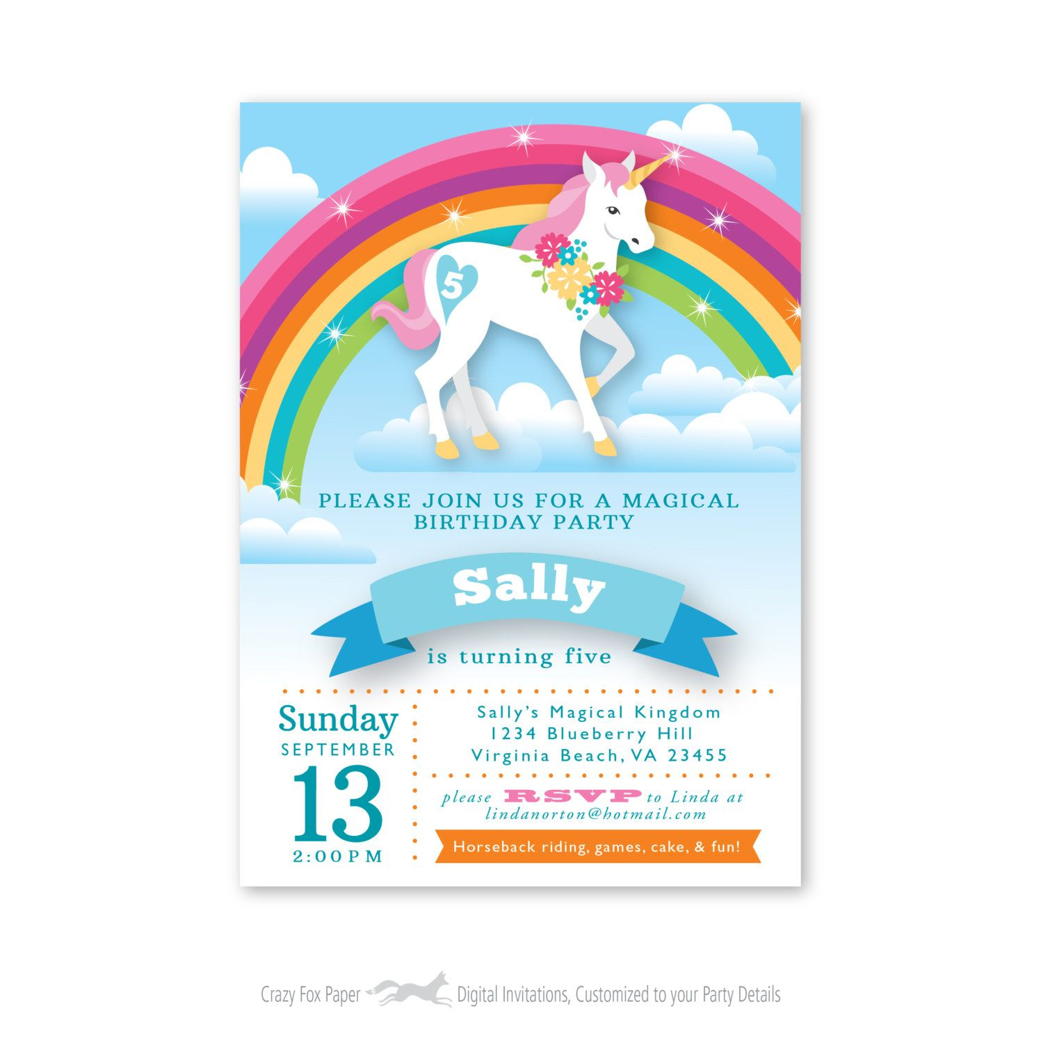 Rainbow Unicorn Birthday Invitation, Printable, Customized Throughout Printable A Day Bday Schedule Virginia Beach