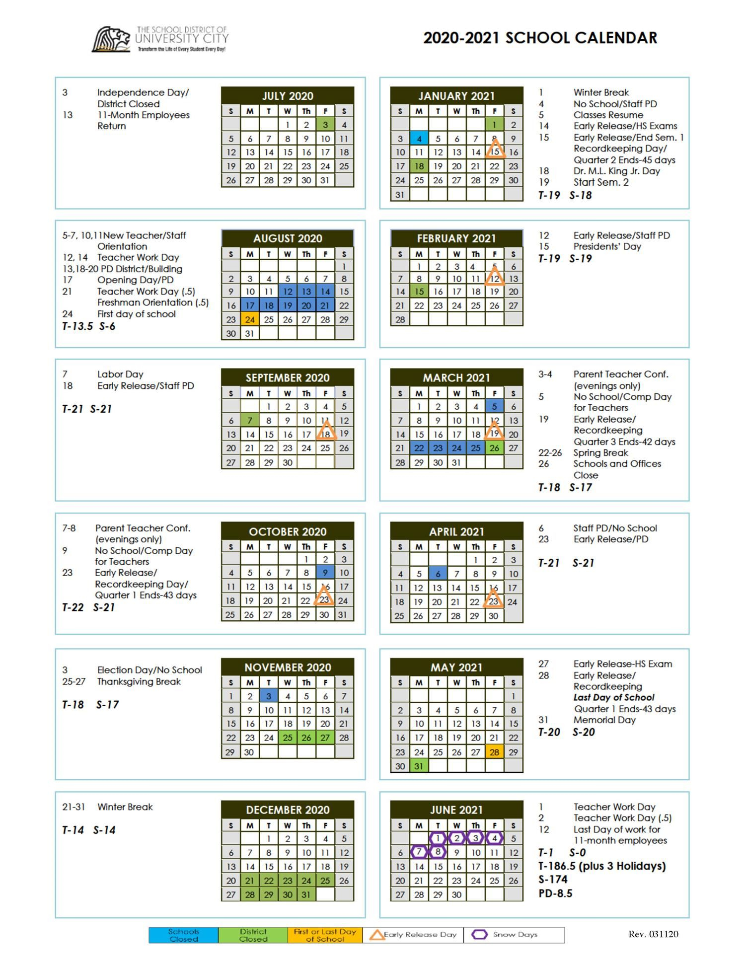 Revised 2020 21 School Year Calendar Now Available Intended For Saint Charles Communty College Calendar 2020