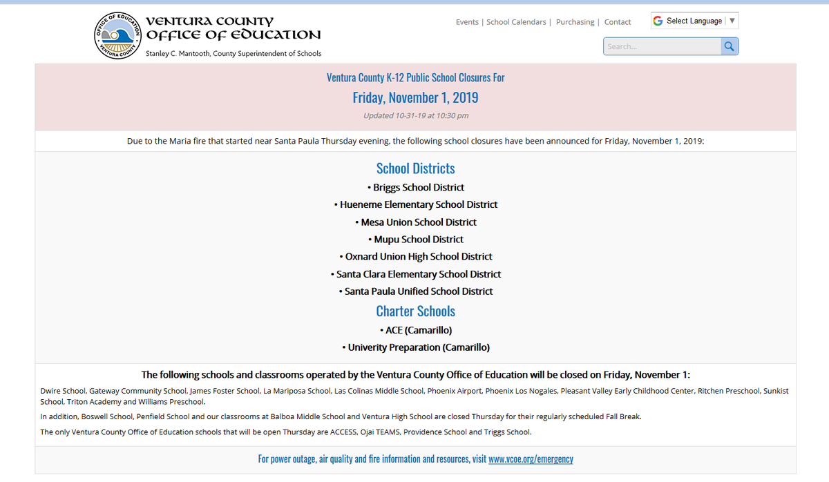 "Rita Garcia's Tweet – ""school Closures Today (Friday 11/1) B Throughout Oxnard Union High School District Calendar"