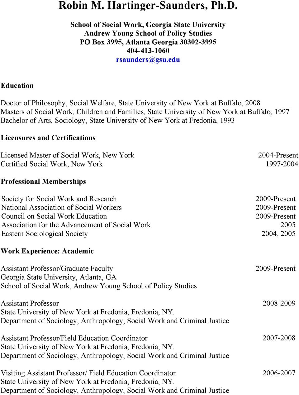 Robin M. Hartinger Saunders, Ph.d. – Pdf Free Download Pertaining To Georgia State University Semester Start Date 2004 – 2005