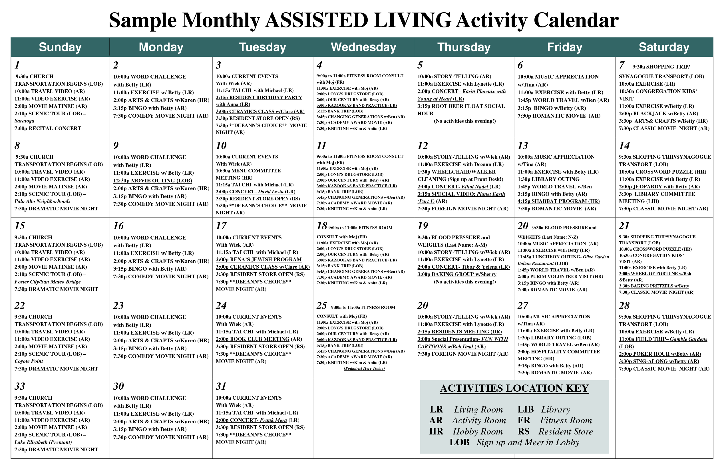 Sample Monthly Assisted Living Activity Calendar - Pdf Intended For Asiisted Living Home Monthly Cactivity Calendar