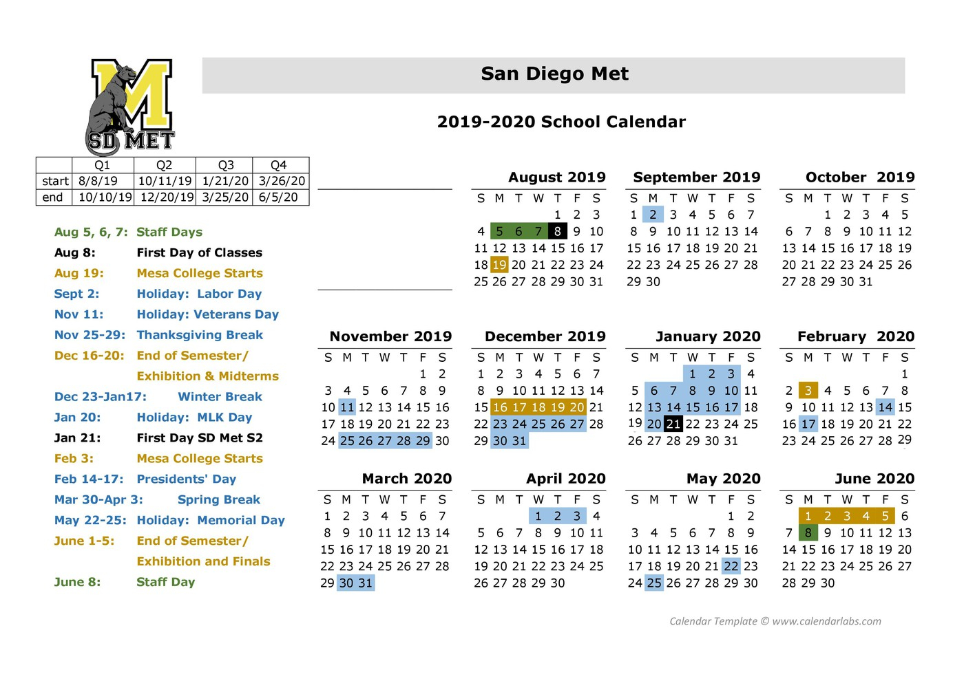 San Diego Metropolitan Regional And Technical | San Diego intended for San Diego Unified School District Calendar