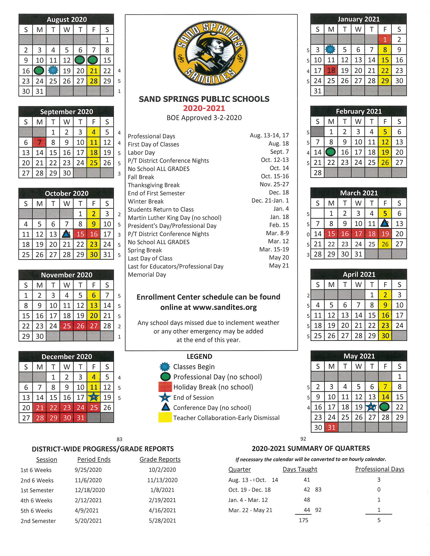 Sand Springs Public Schools Throughout University Of Tulsa 2021 Calendar