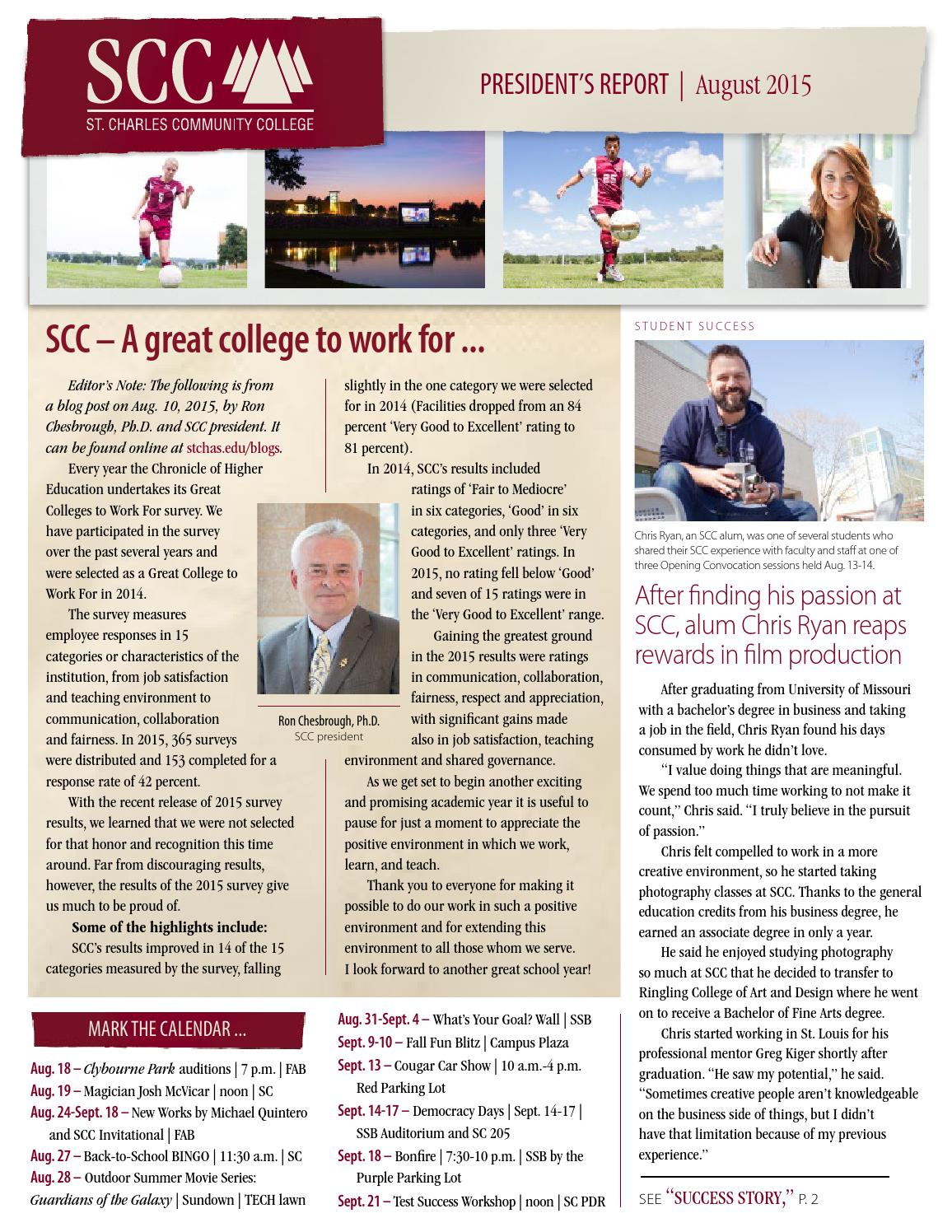 Scc Monthly President's Report, August 2015St. Charles Within St Charles Community College Calendar