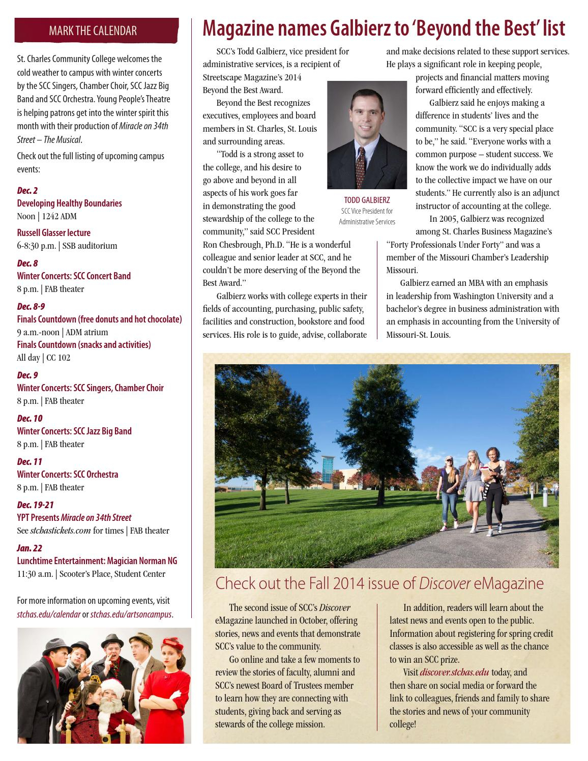 Scc Monthly President's Report, Dec. 2014St. Charles Throughout St Charles Community College Calendar