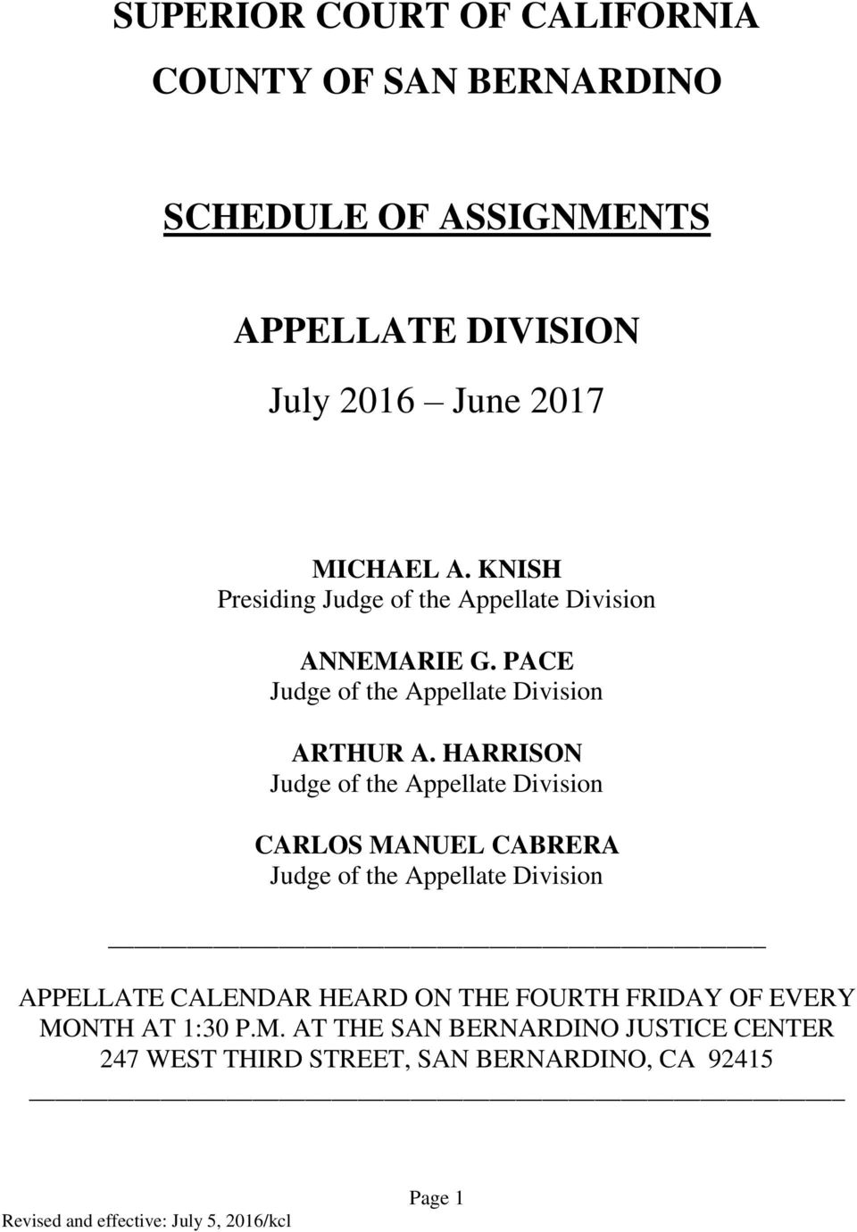 Schedule Of Assignments – Pdf Free Download With Regard To Court Calender Of San Bernardino Ca