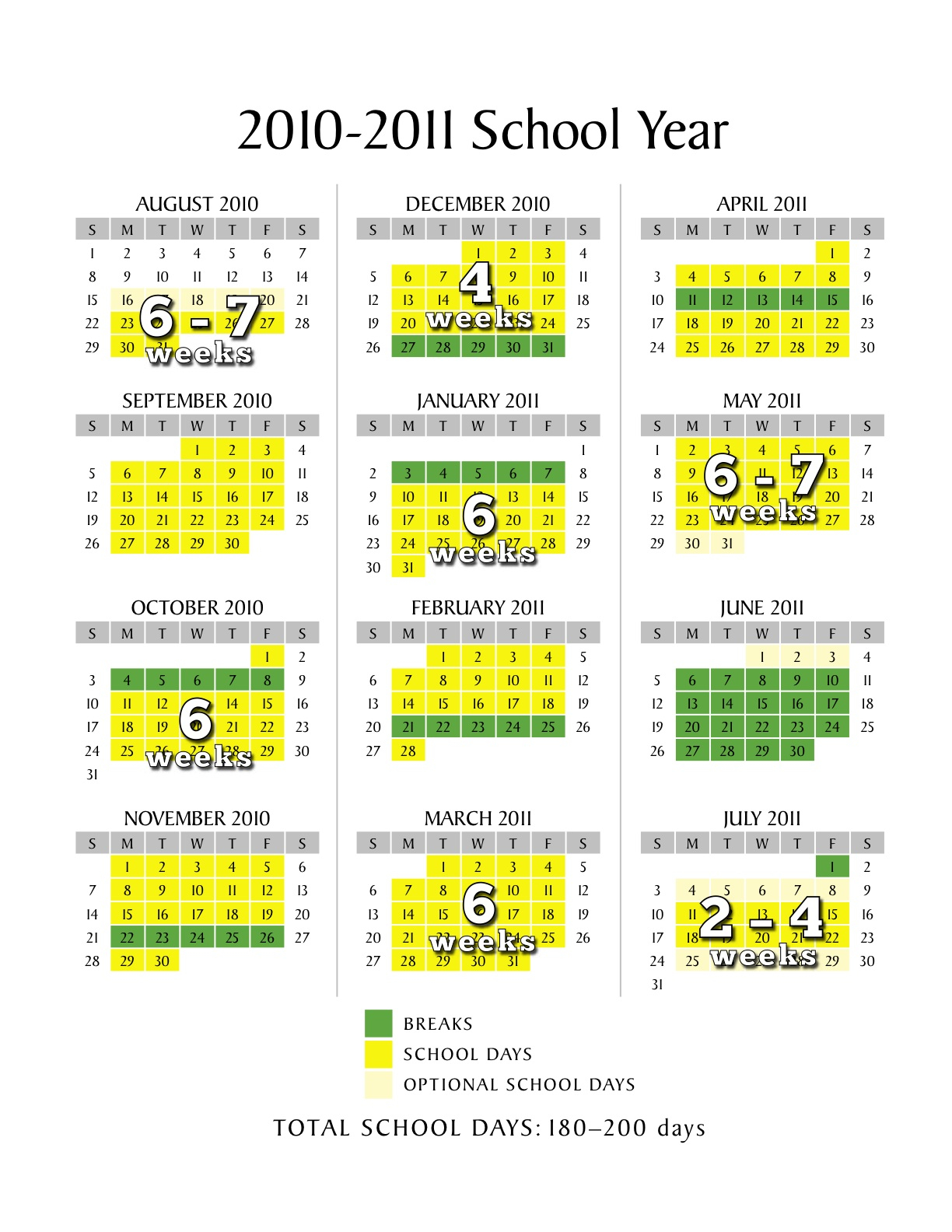 Scheduling A Low Stress School Calendar In Example Of Year Around School