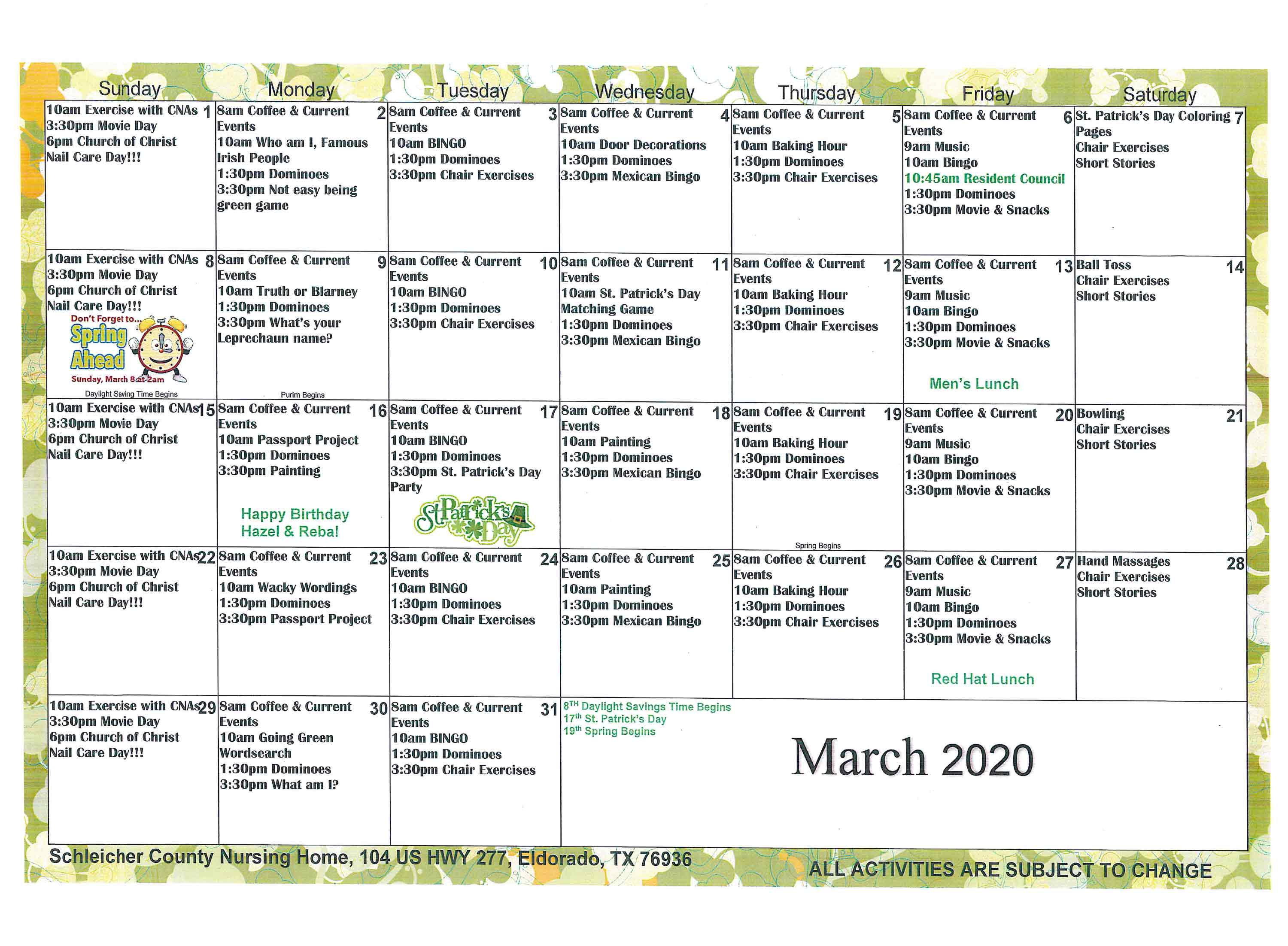 Schleicher County Nursing Home | Monthly Calendar Within Saint Names Mexican Calendar