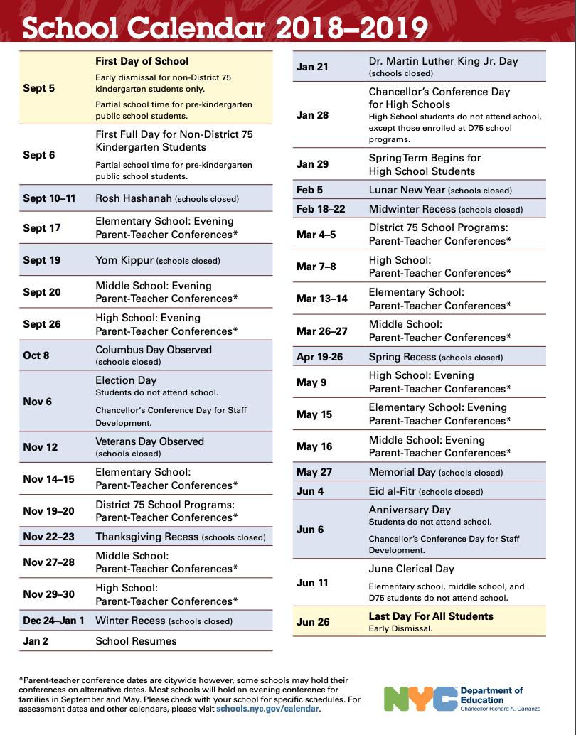 School Calendar 2018 2019 | Ps 373R Robert Randall School For Board Of Education Calendar Nyc