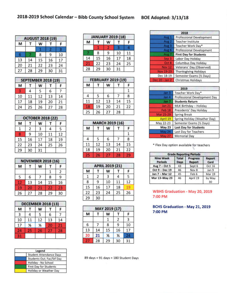School Calendar 2018-2019 | The Bibb Voice for Bibb County Board Of Eduacation Calendar