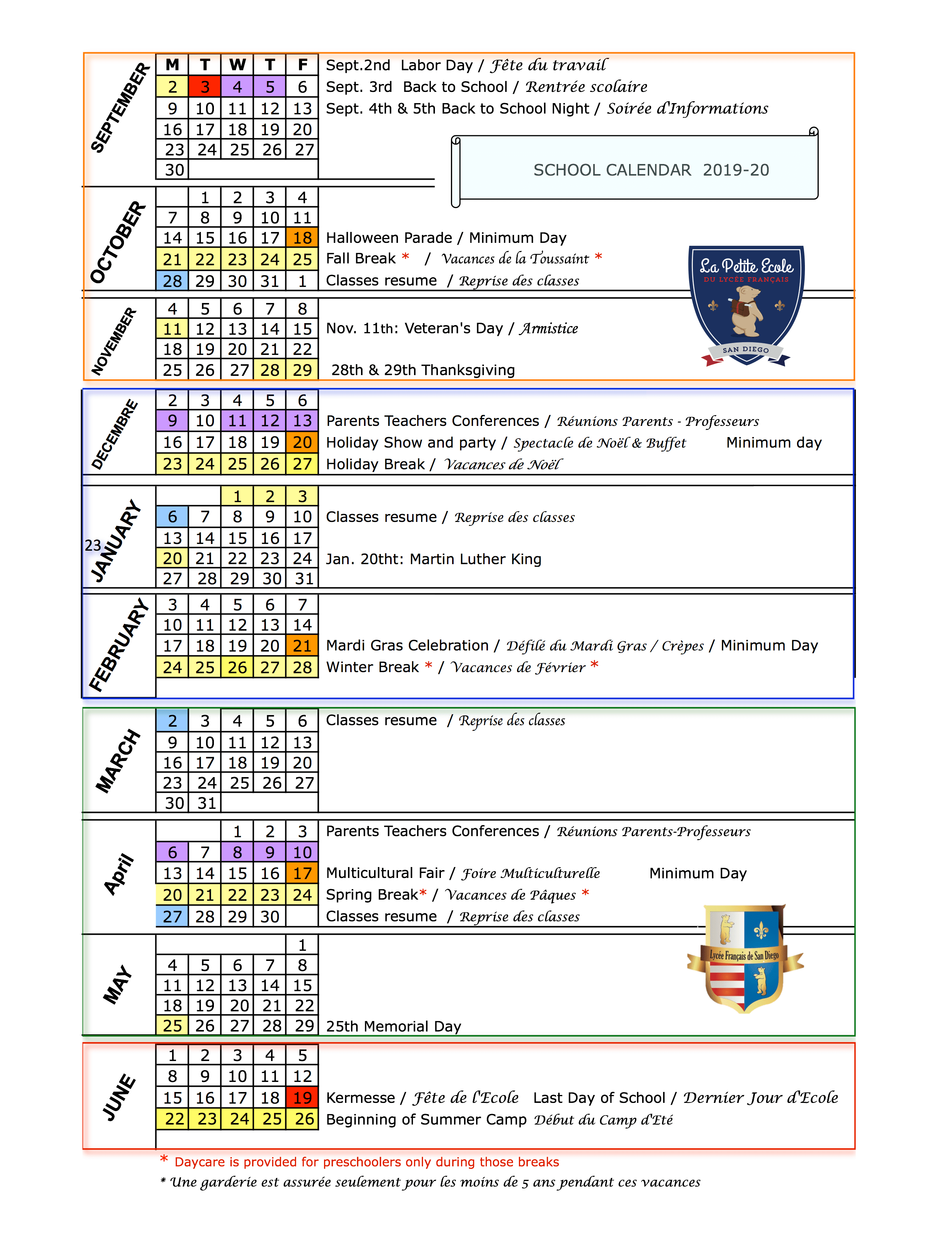 School Calendar 2019 20 & 2020 21 | Le Lycée Français De San In San Diego High School Calendar 2021