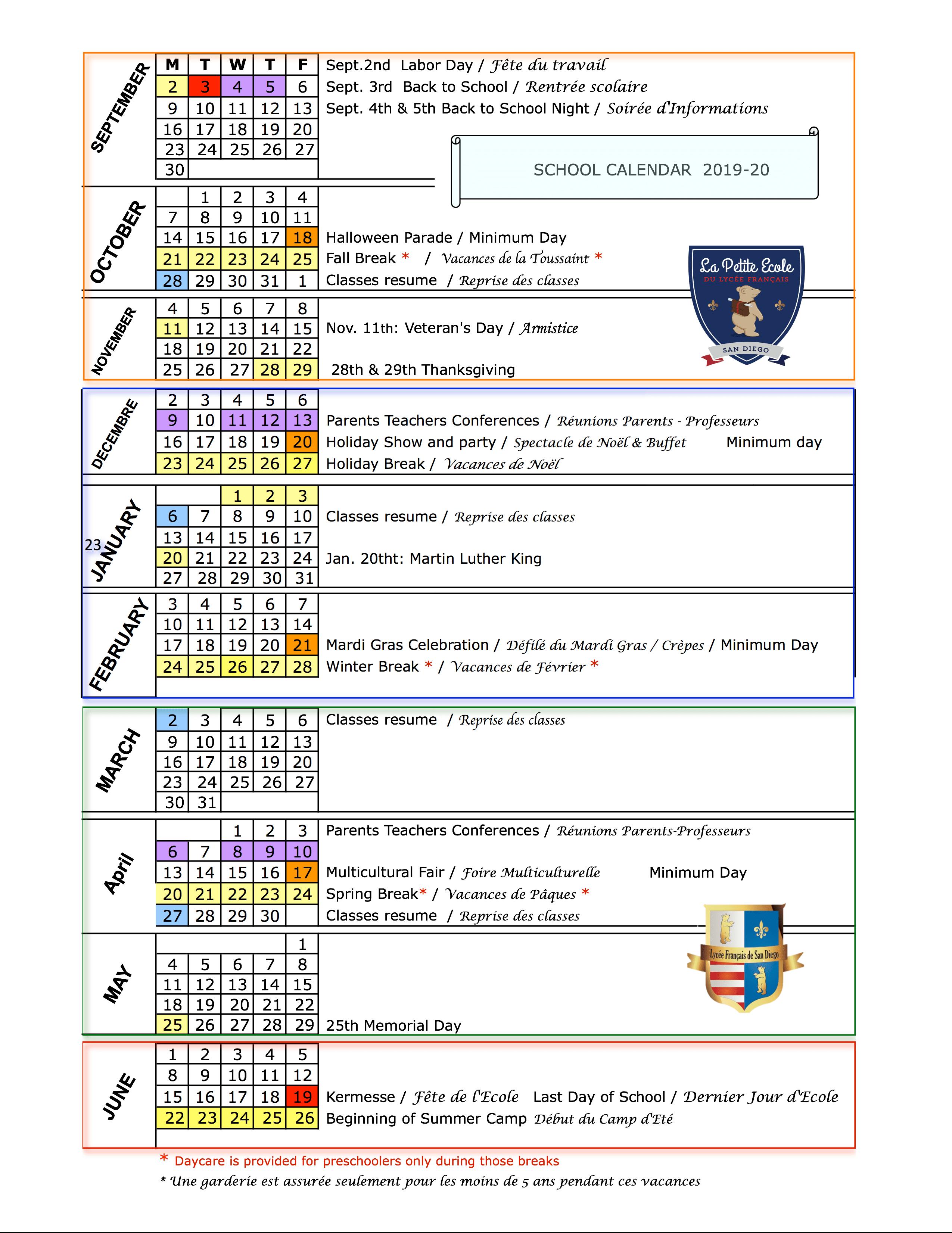 School Calendar 2019 20 & 2020 21 | Le Lycée Français De San Within Grossmont High School Academic Calendar